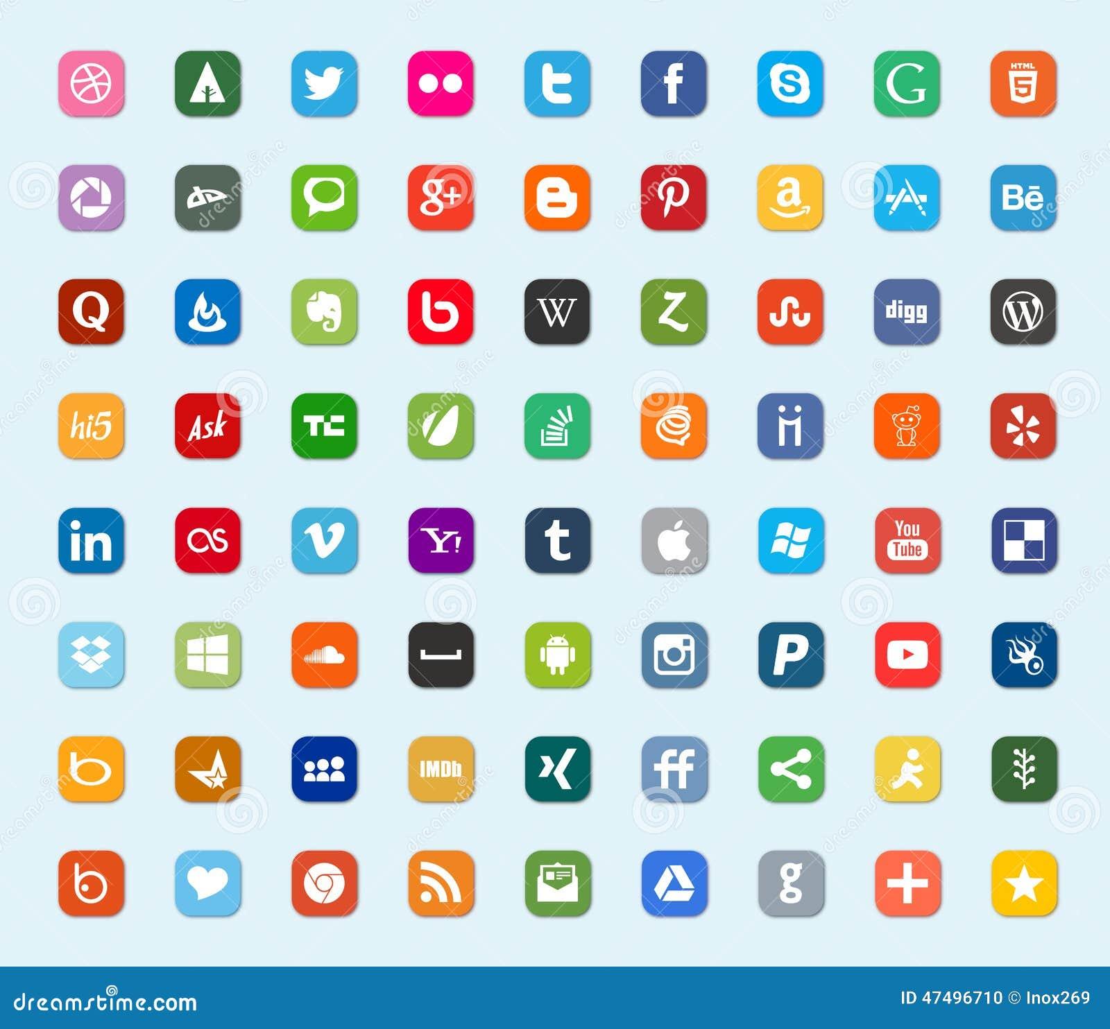 Sociale media en de vlakke pictogrammen van de netwerkkleur