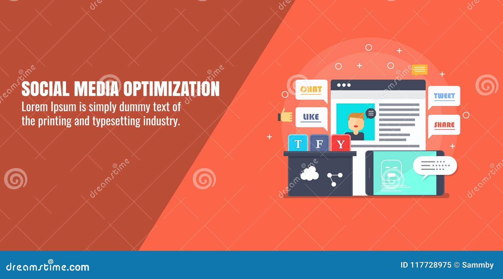 Sociale media optimalisering, Webanalytics, digitale marketing, controle, het concept van de inhoudsontwikkeling Vlakke ontwerp v