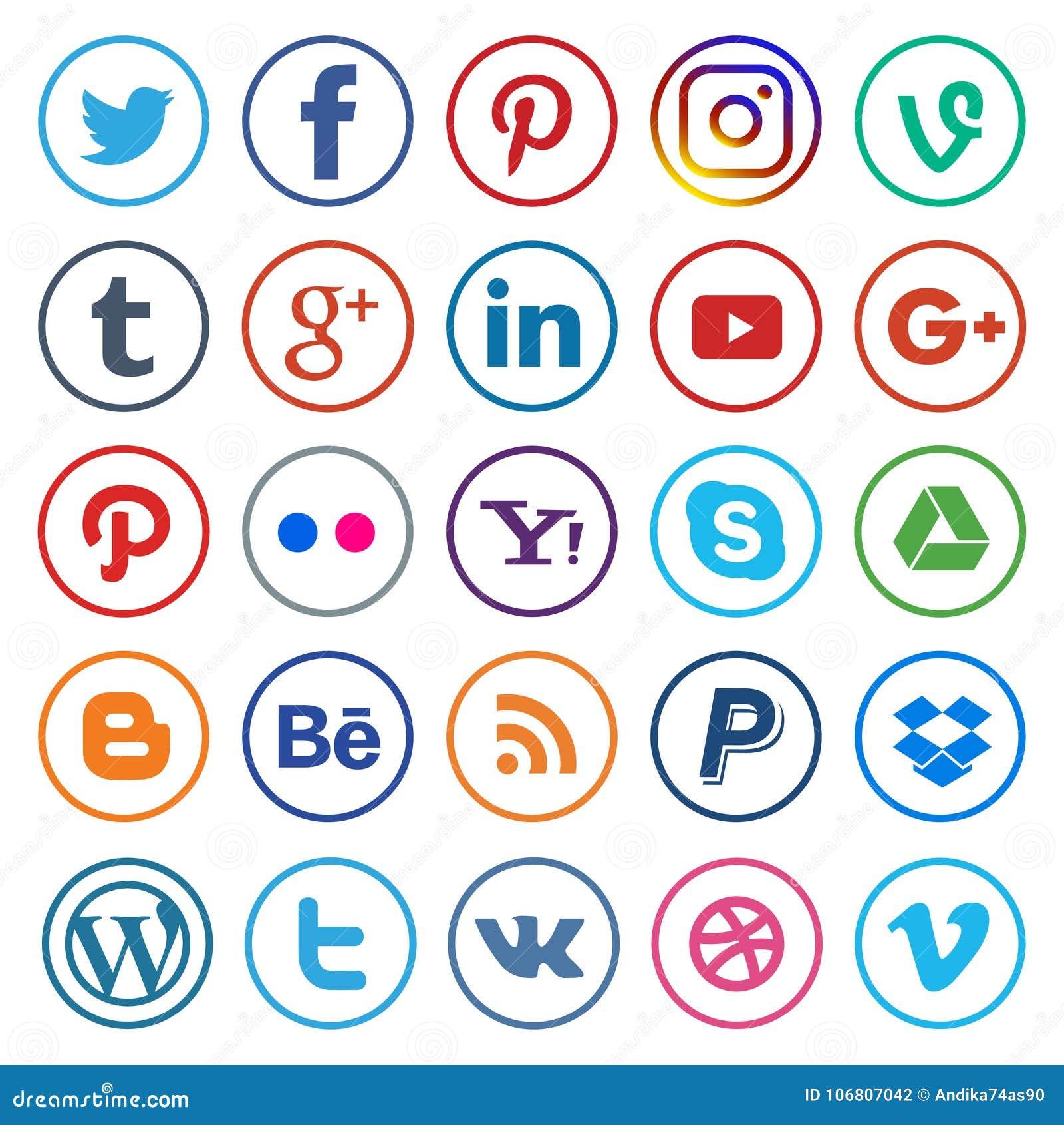 Sociale media pictogrammen rond gemaakte lijn en kleurrijk