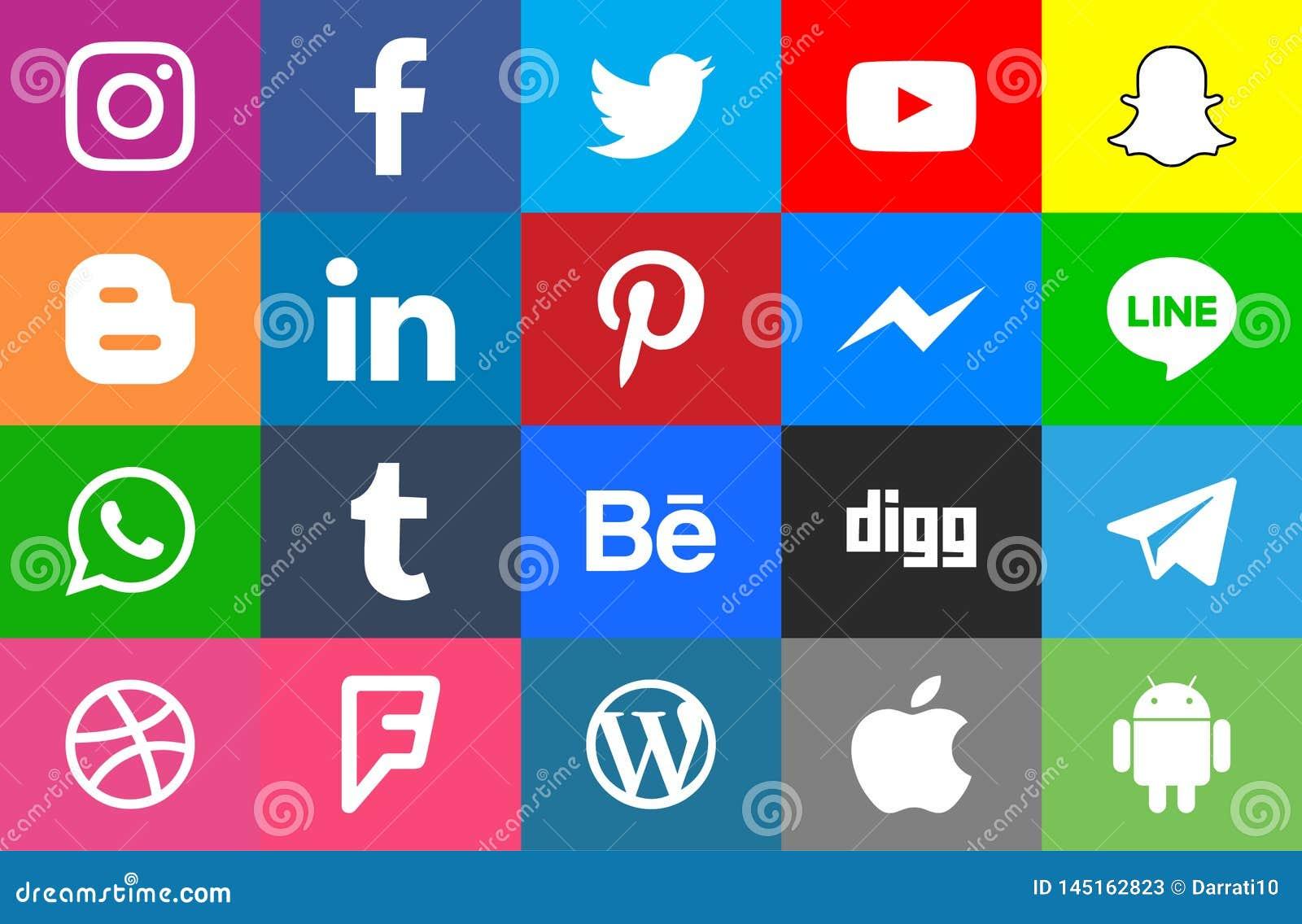 Sociale rond gemaakte media en colorfull