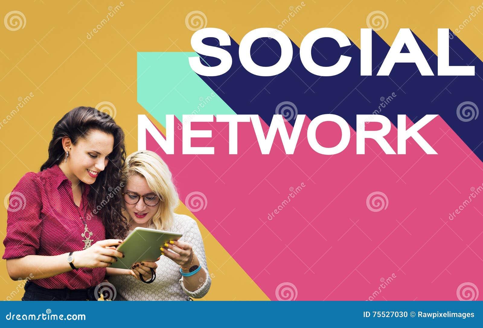 Socialt begrepp för pratstund för anslutning för massmedianätverksgemenskap