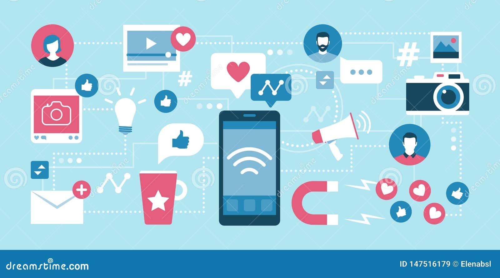 Socialt massmedia ledning och kommunikation