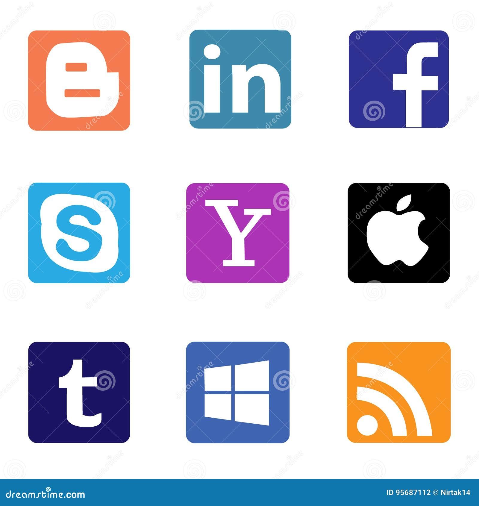 Socialt massmedia och nätverkssymboler och logoer