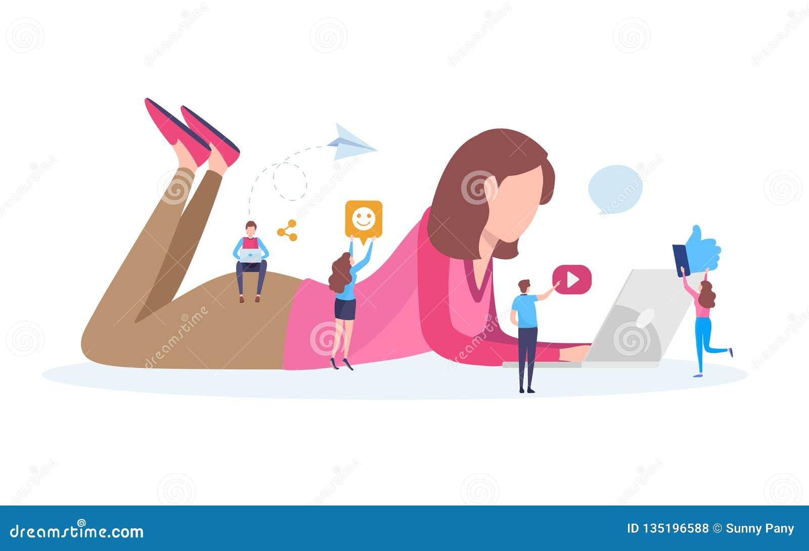 Socialt nätverk, socialt massmedia, online-gemenskap, pratstund, meddelande, nyheterna, website, användare, Blogger Plan tecknad