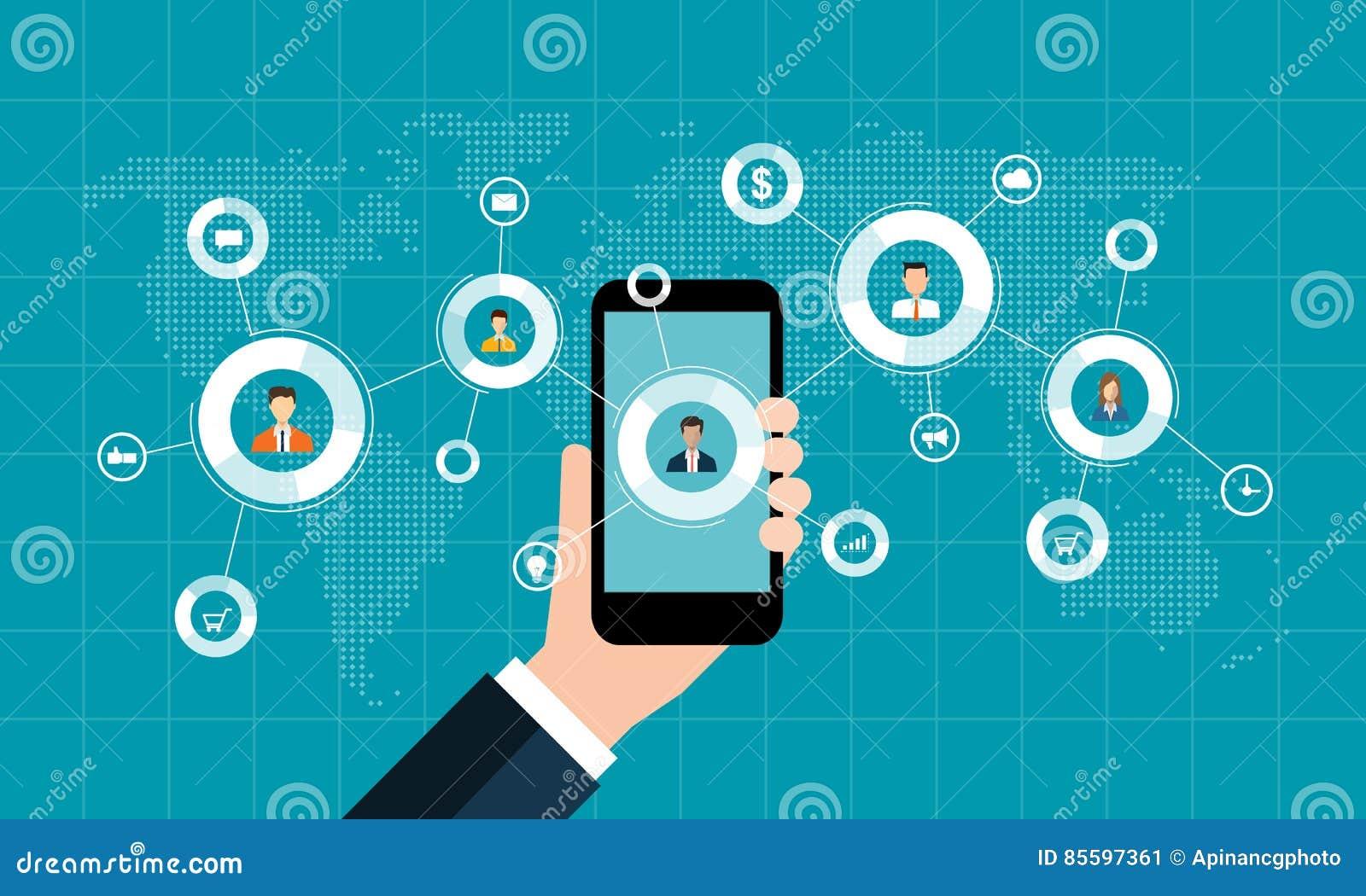 Socialt nätverksmarknadsföringsbegrepp och digital affär på mobilt begrepp