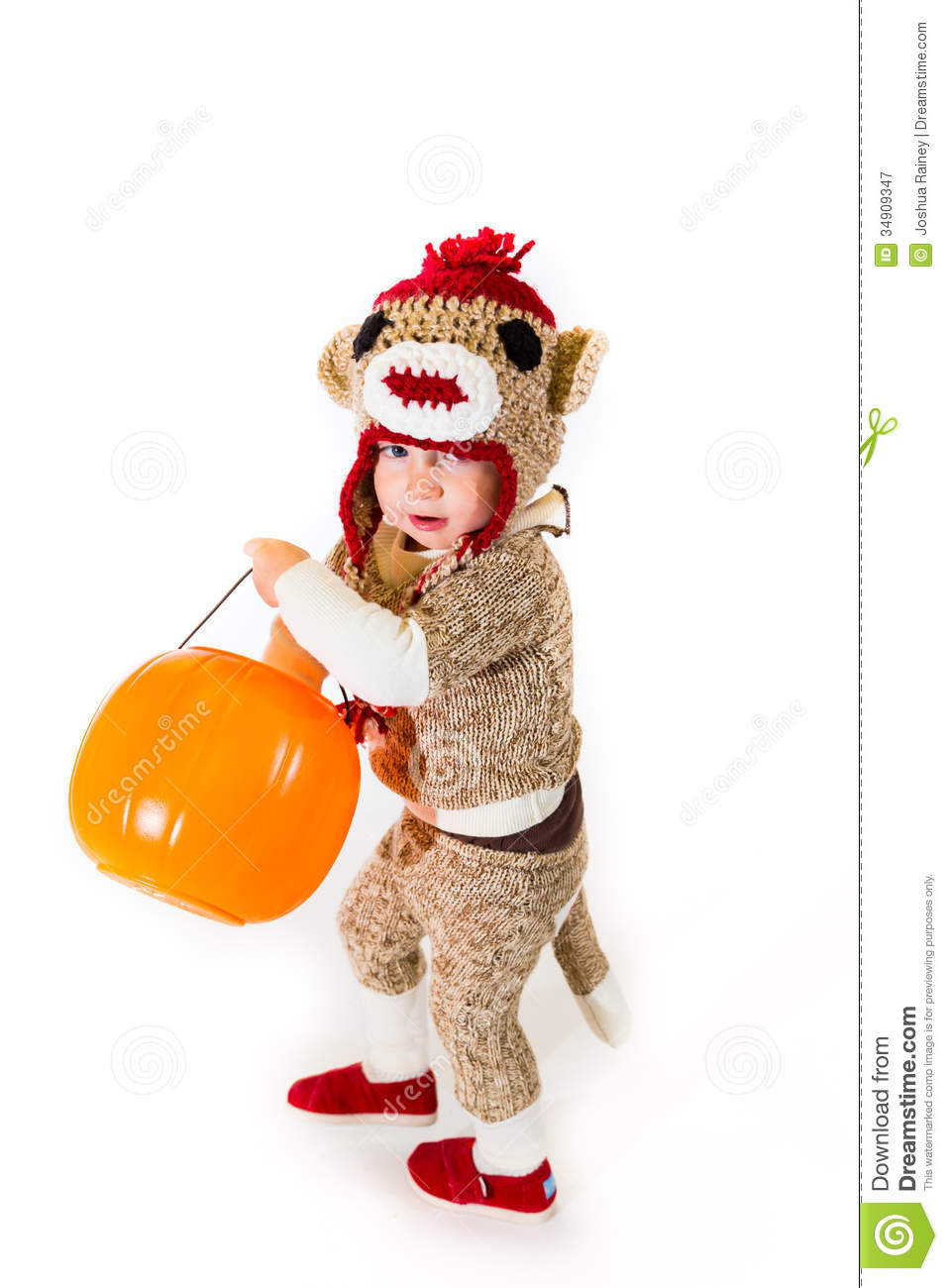 sock monkey halloween costume stock image - image of holiday, animal