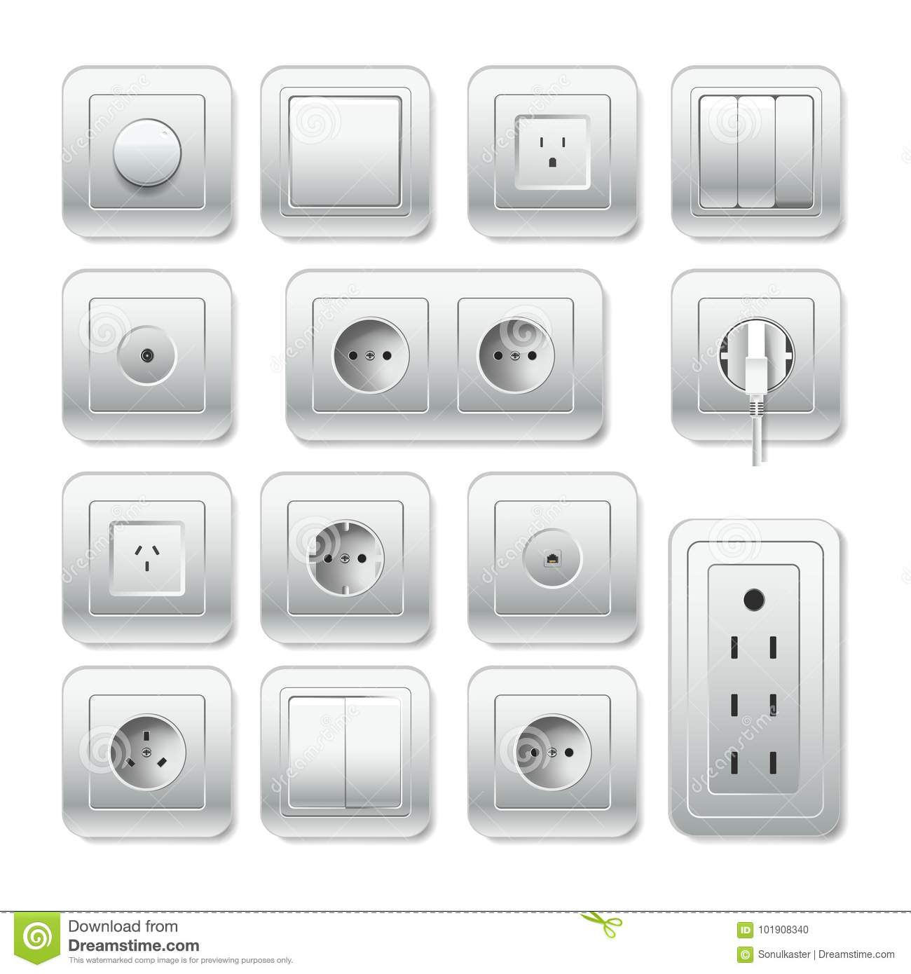 Socket Electirc Outlet, Light Switch And Cable Inlet Vector 3D Icons ...