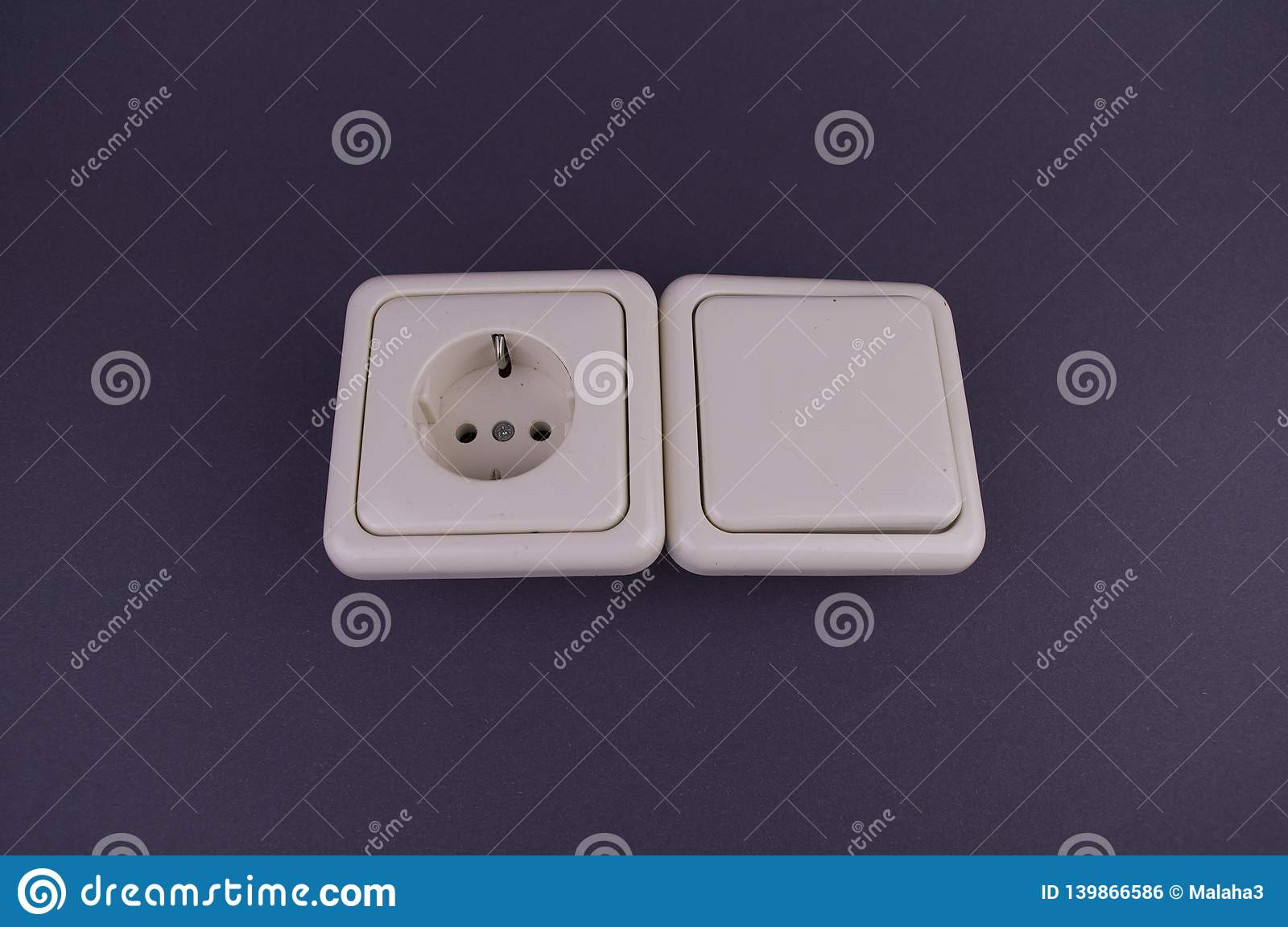 Socket, a switch on a gray background, there is a place to fill
