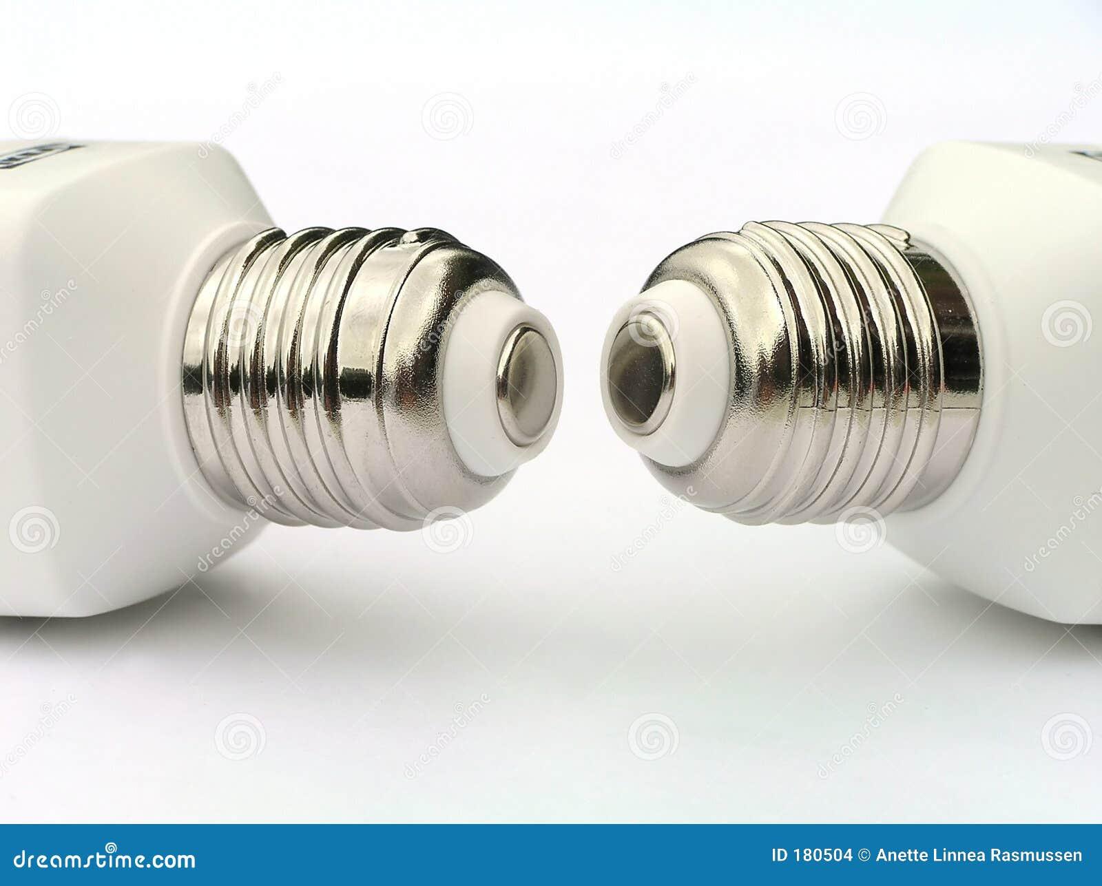 Socket of two power saving light bulbs