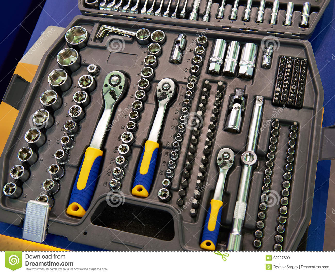 Socket Wrenches In Plastic Box Stock Image
