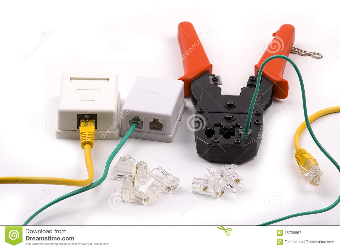 Sockets Crimping Tool Stock Image Of Cable Connection 16756967 Rj45 Socket Wiring