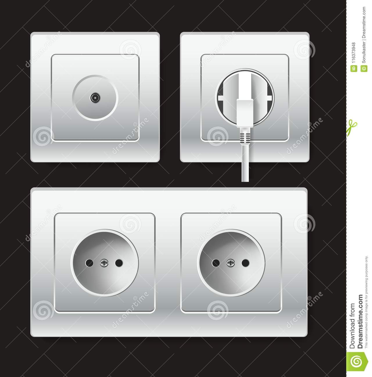 Sockets Types Or Electric Plug Outlets Vector Icon Stock Vector ...