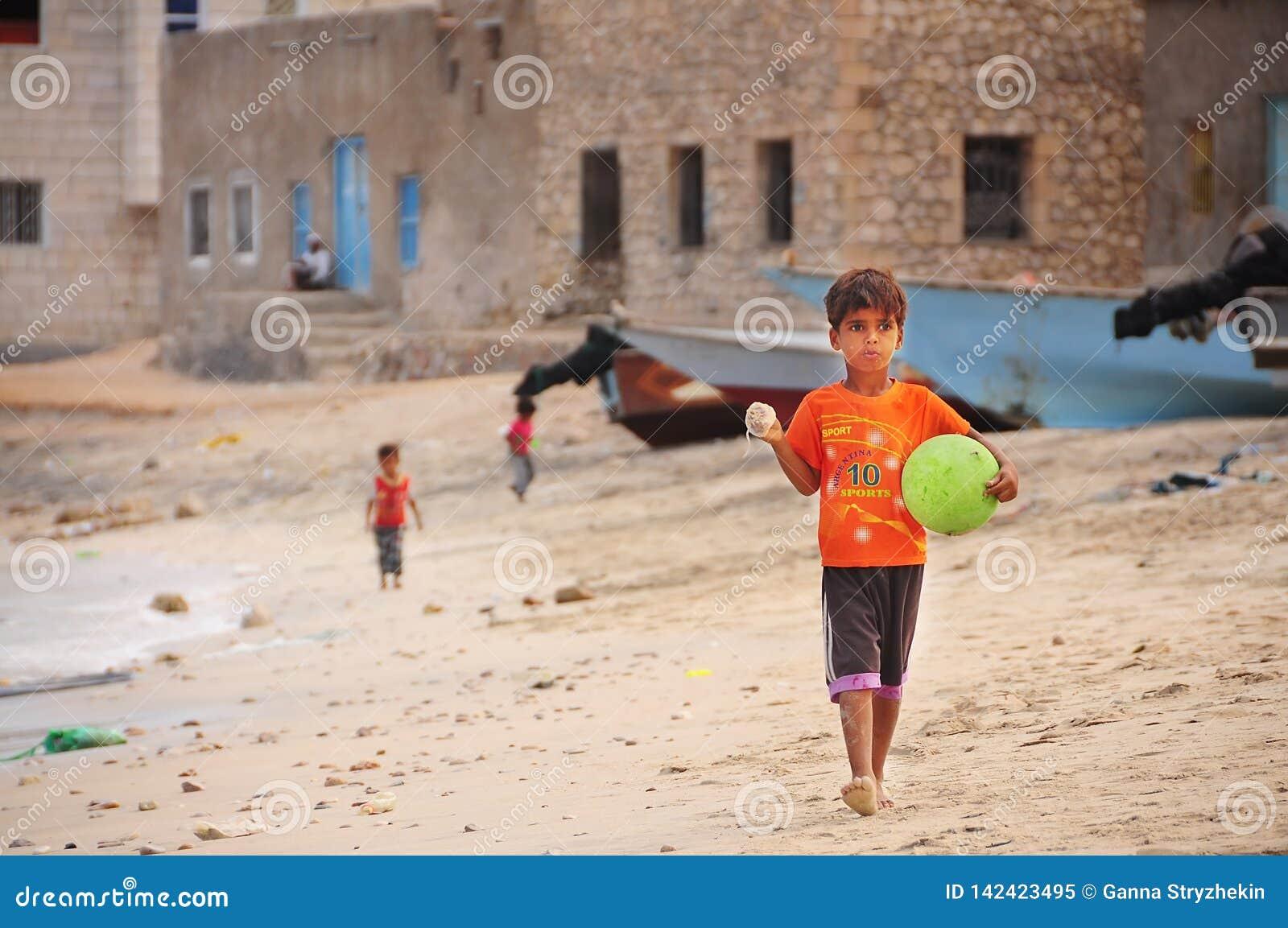 Socotra, Yemen, March 9, 2015 Yemen`s children are playing on the beach.