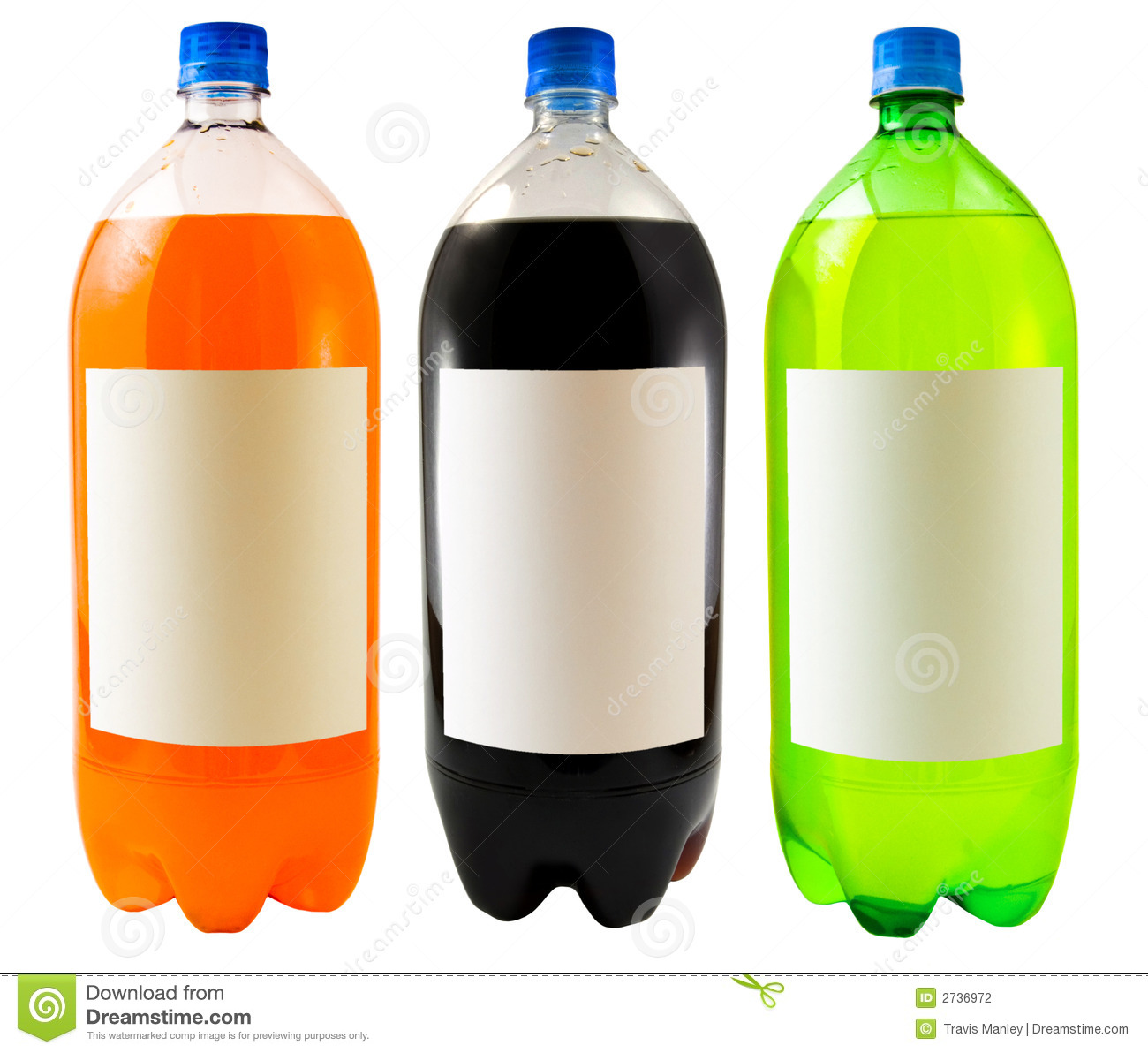 close up on three soda bottles isolated on a white background.