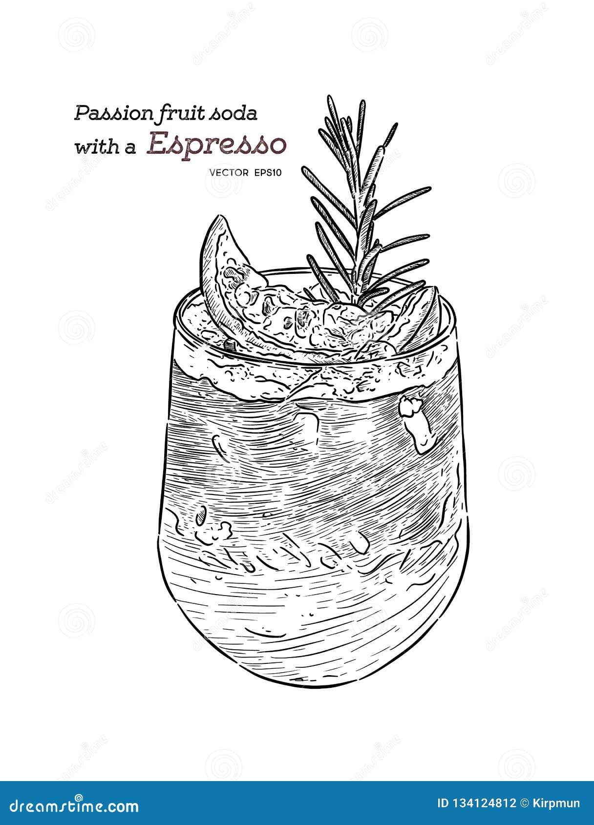 Soda del frutto della passione con caffè espresso, vettore di schizzo di tiraggio della mano