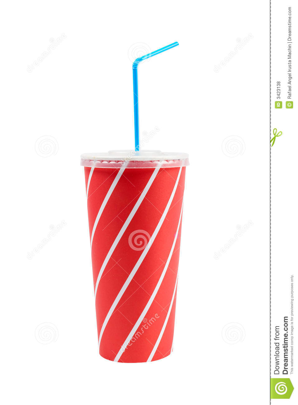 Soda drink with blue straw