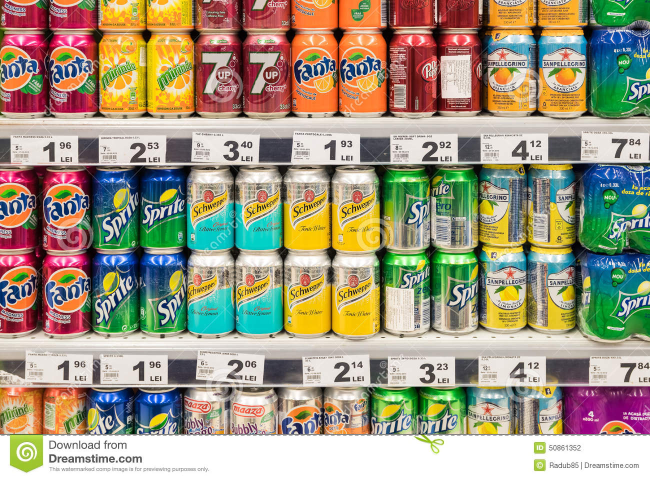 Soda Drinks On Supermarket Stand Editorial Photography
