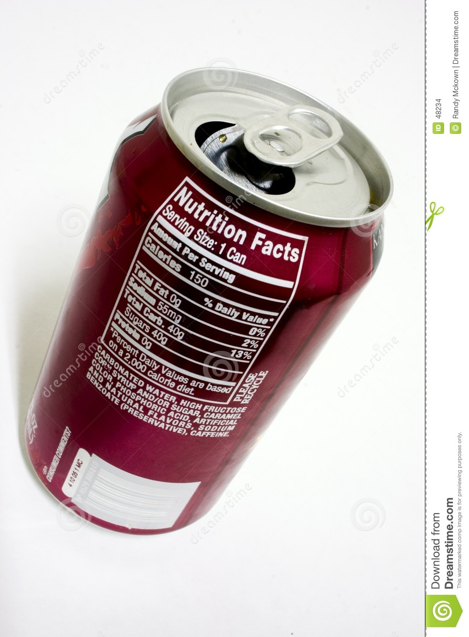 Soda Nutrition Facts Stock Images