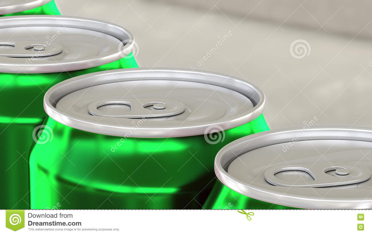 Soda, soft drink or beer production line. Green aluminum cans on industrial conveyor. Recycling ecologic packaging. 3D