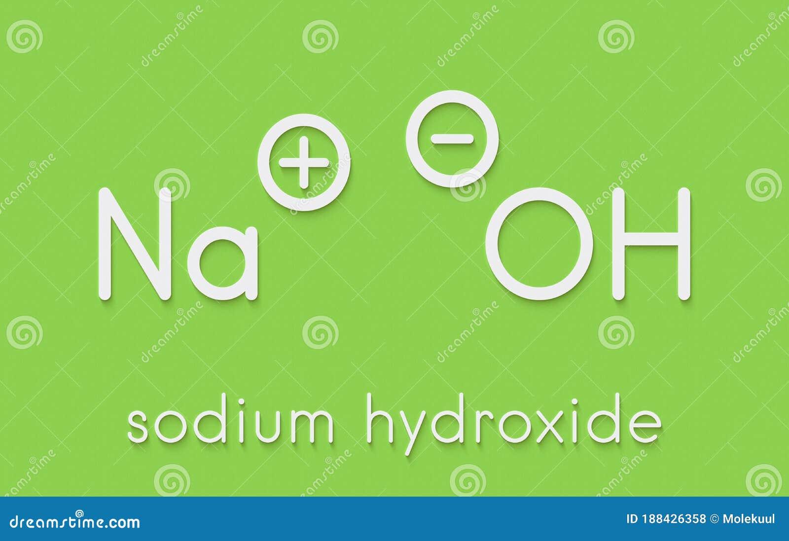 Sodium Hydroxide Lye, Caustic Soda, Chemical Structure ...