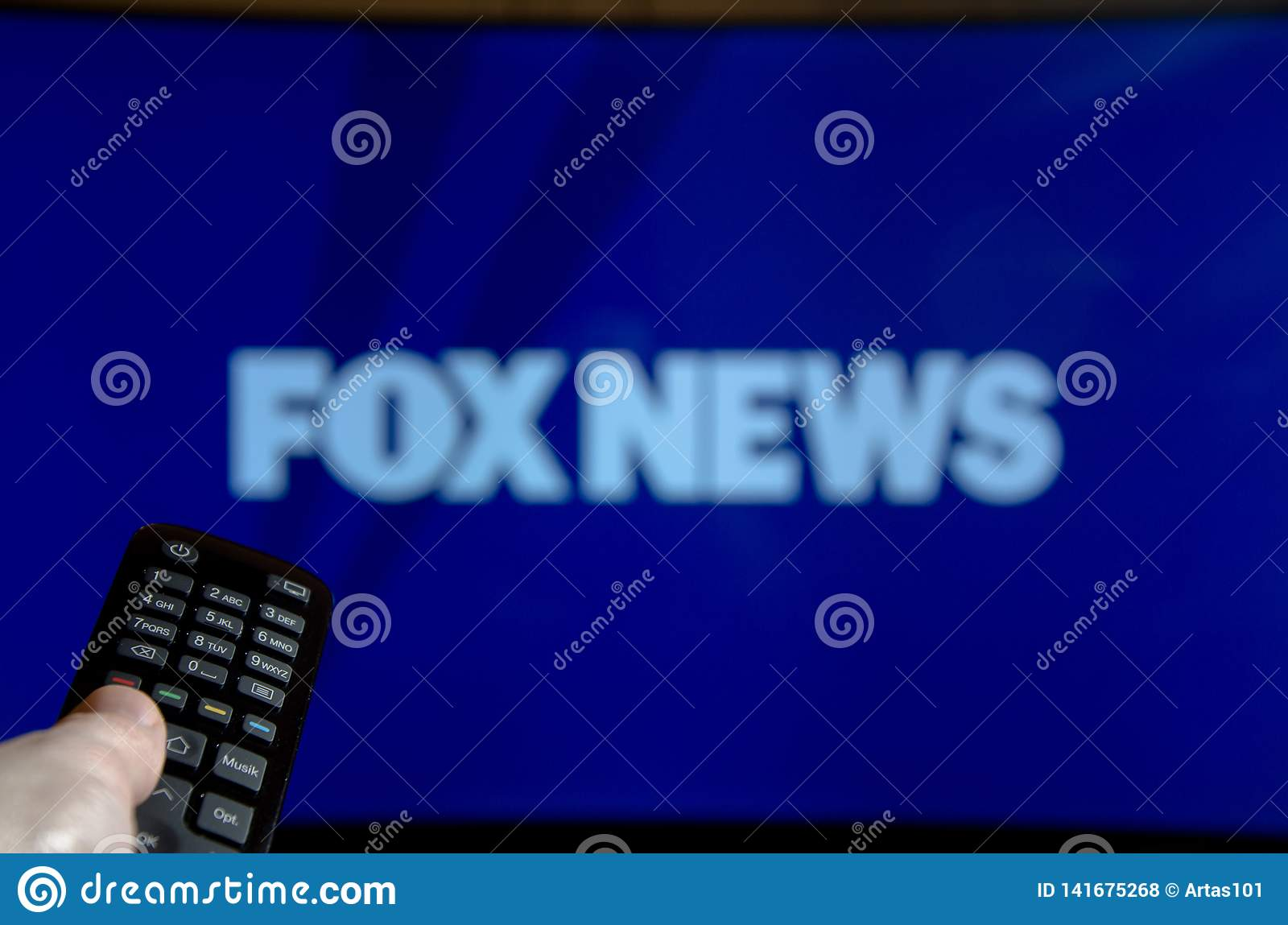 Soest, Germany - January 14, 2018: Man Watching FOX News On