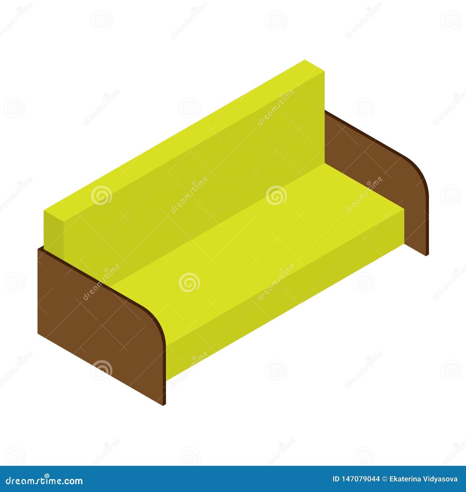 Sofà di colore del limone Illustrazione isometrica di vettore, web, decorazione, stampa, applicazione su fondo bianco