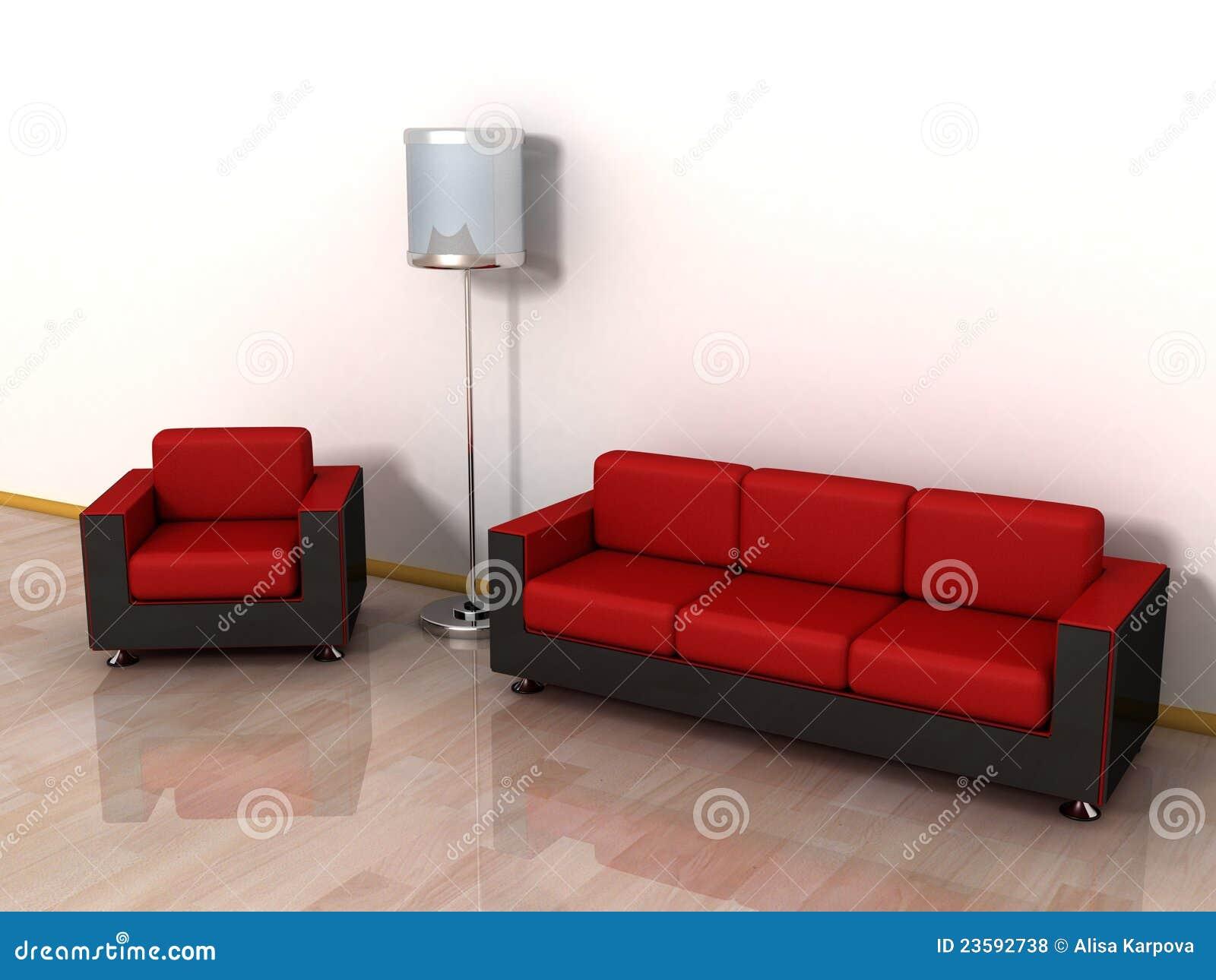 Lampade Da Terra Poltrone E Sofa.Sofa Di Cuoio Rosso Poltrona E Lampada Di Pavimento Alla Moda