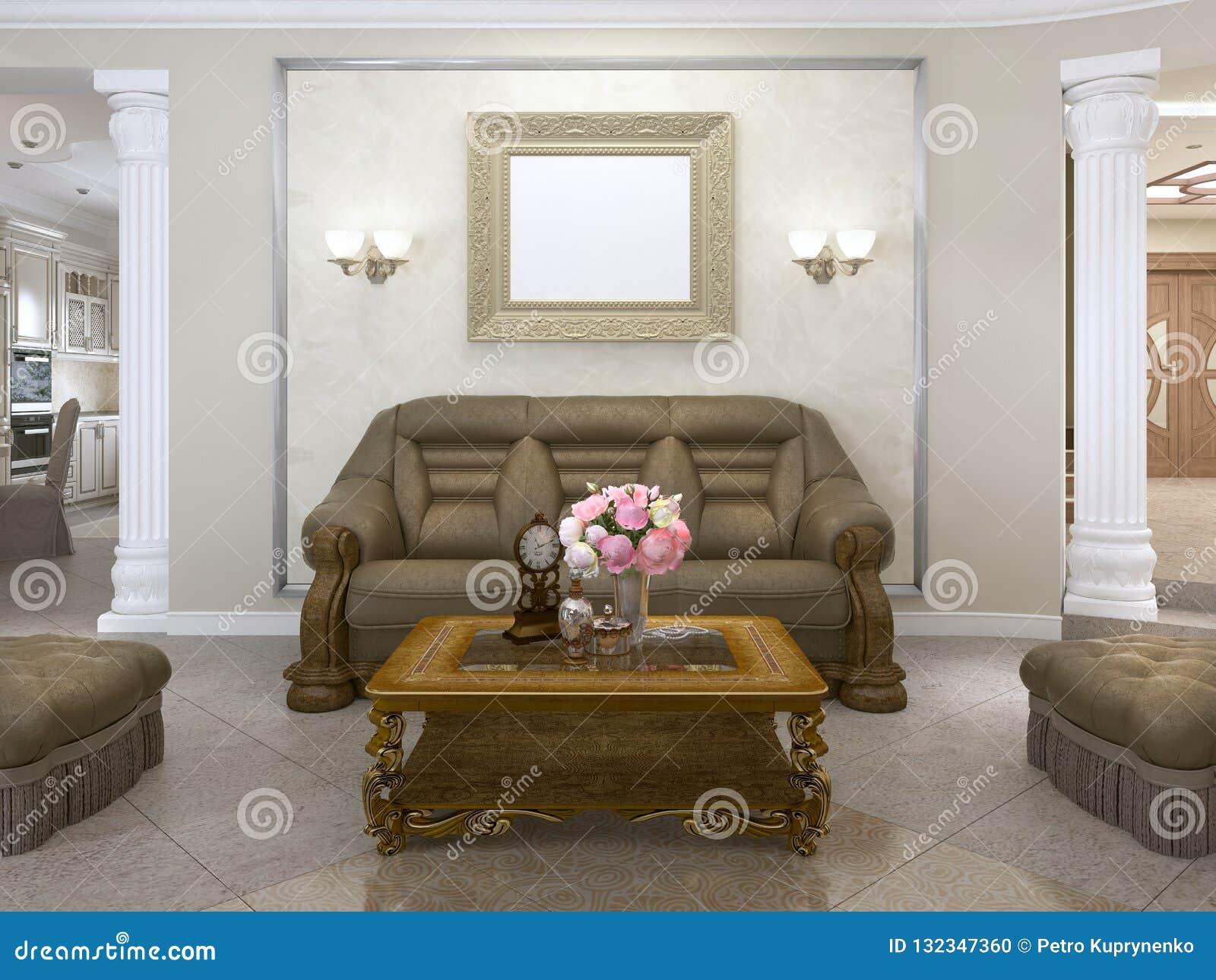 Tavolini Da Salotto In Stile Classico.Sofa E Due Poltrone Con Un Tavolino Da Salotto In Uno Stile