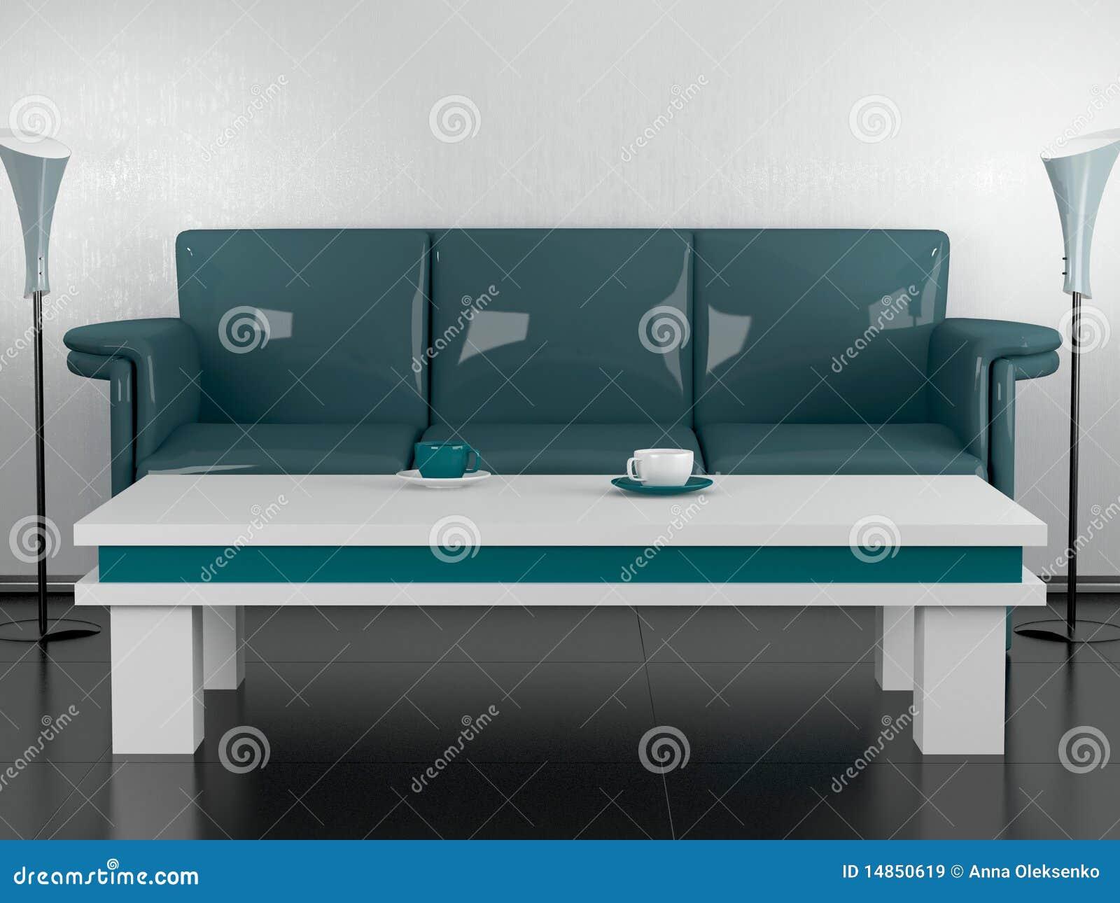 Tavolino Salotto Verde : Sofà e tavolino da salotto verdi nella sala da pranzo illustrazione
