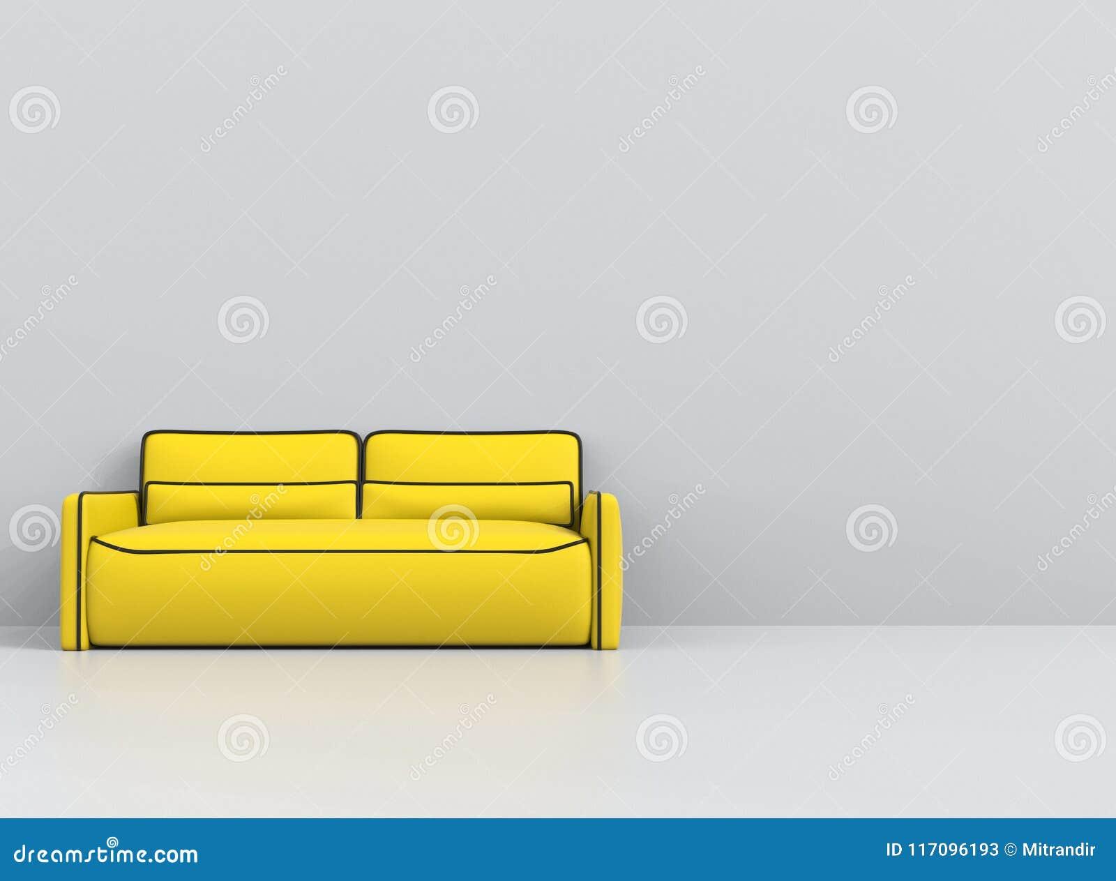 Sofà giallo con i profili neri in salone bianco