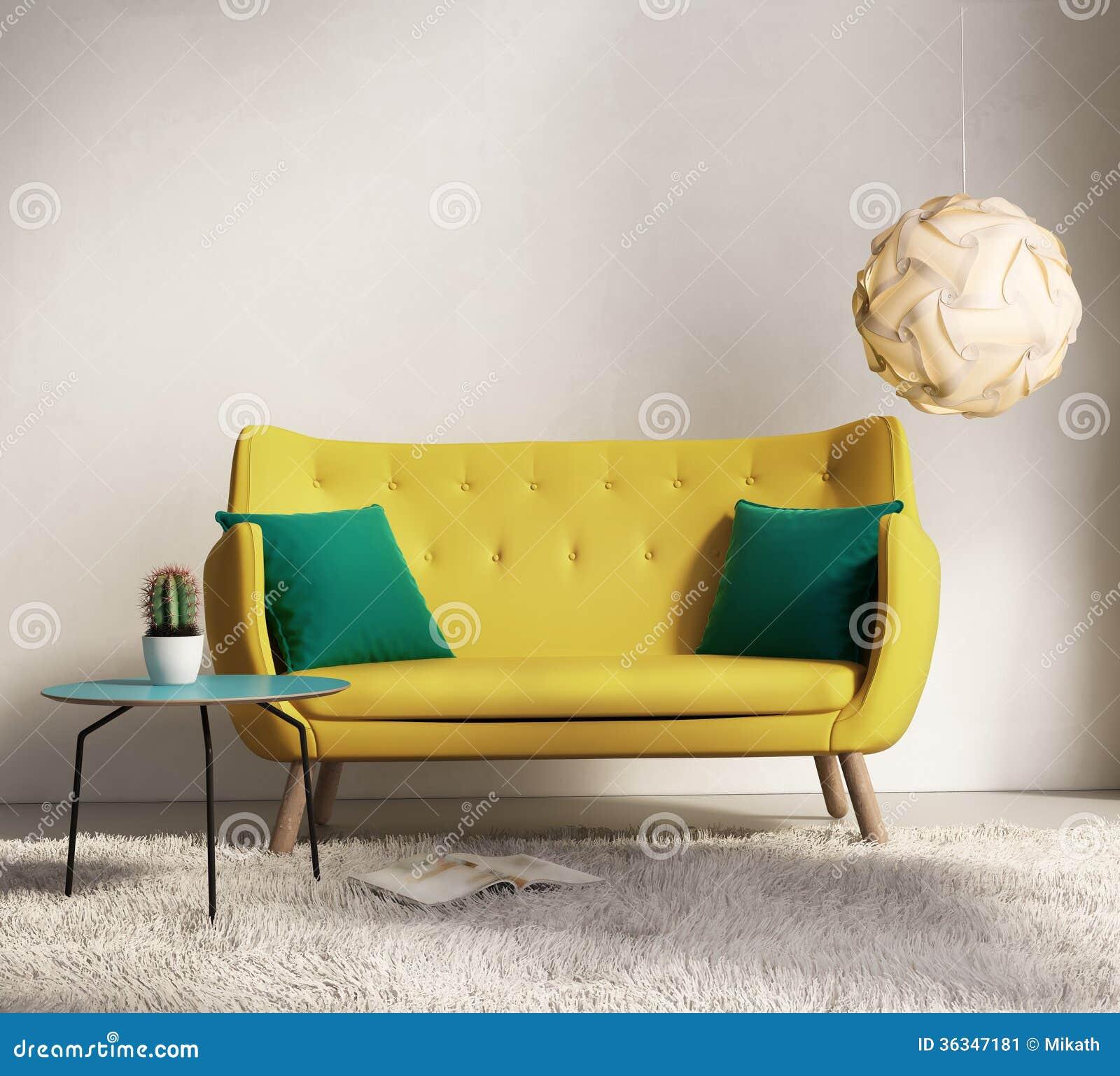Sofà giallo in salone interno fresco