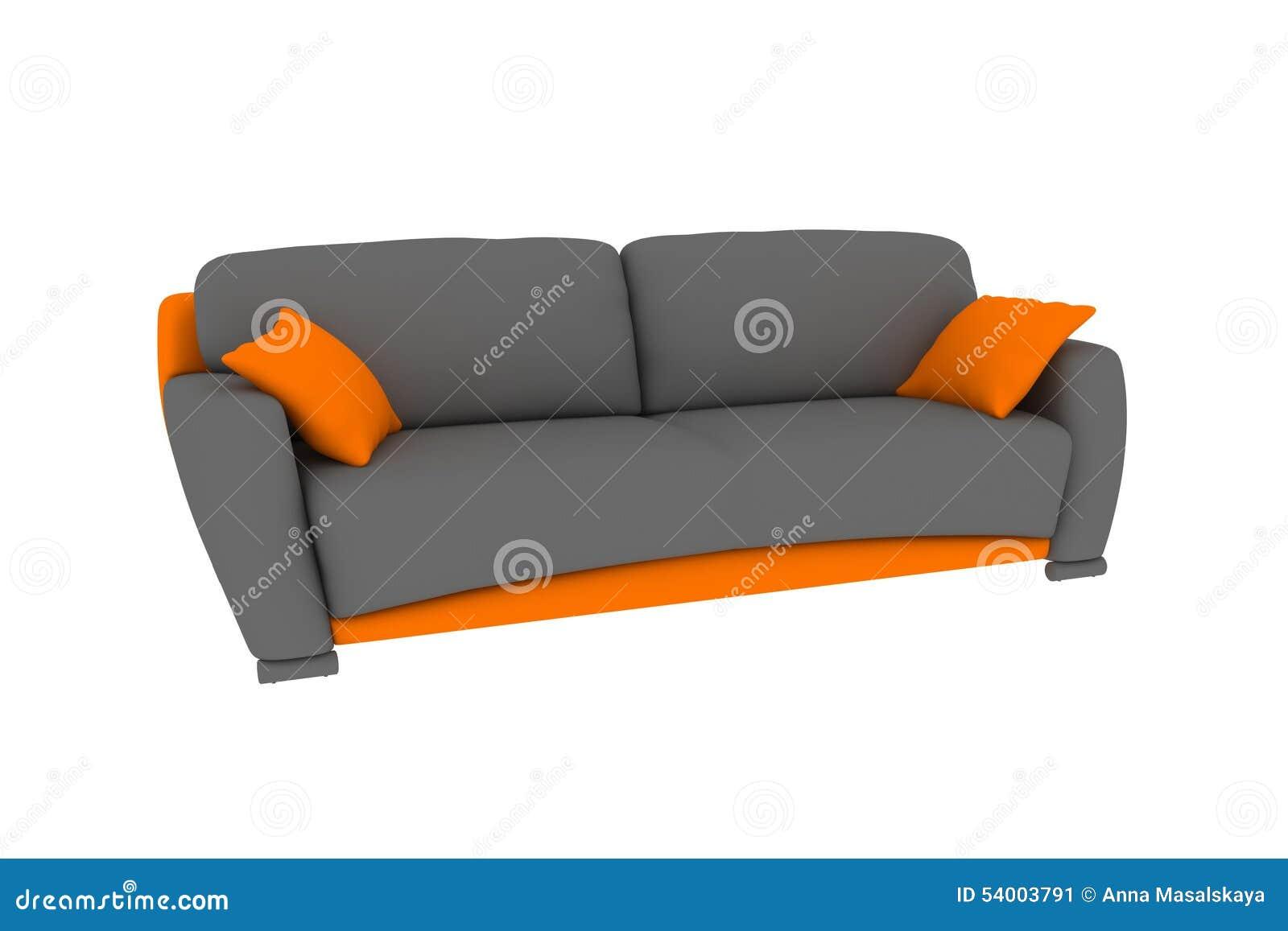 Sofà grigio-arancio isolato