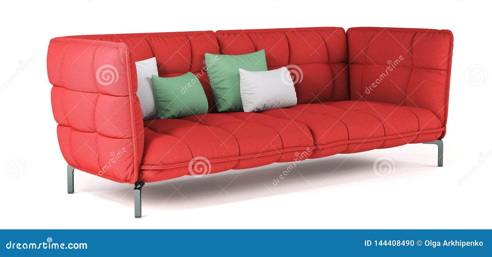 Sofà imbottito rosso moderno del tessuto sulle gambe del metallo con i cuscini su fondo bianco isolato Mobilia, oggetto interno C