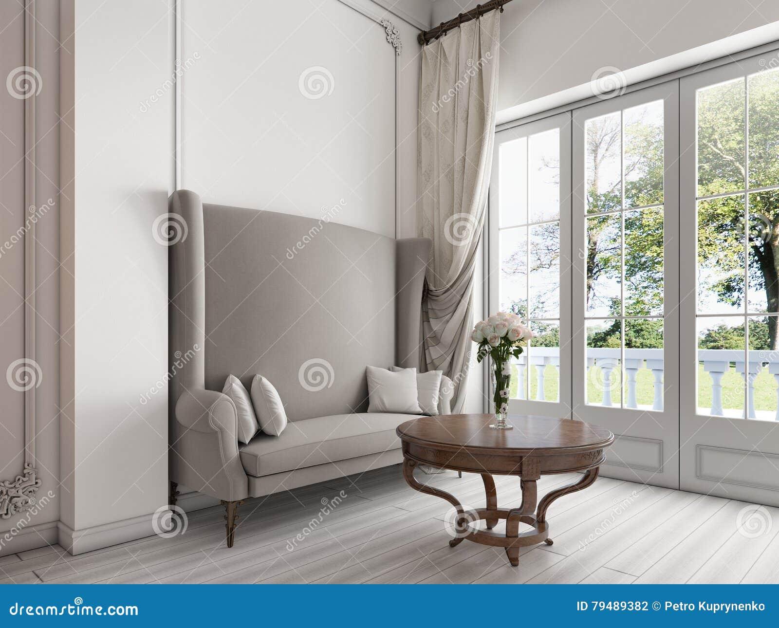 Tavolino Salotto Verde : Sofà lussuoso da grande windows panoramico e da un tavolino da