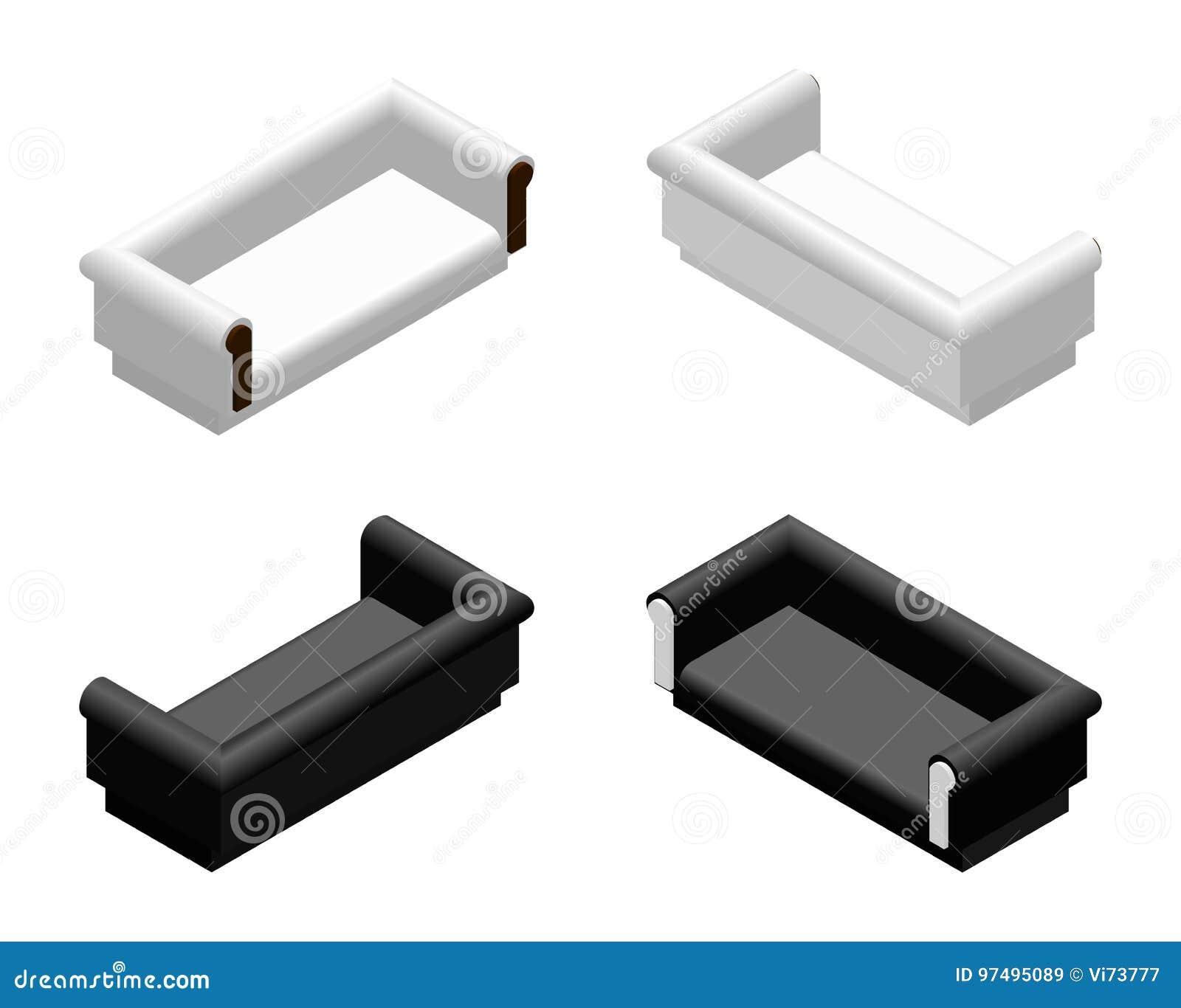 Sofà molle sometric in bianco e nero nelle proiezioni differenti Strato per il salone o il salotto Vettore di progettazione della