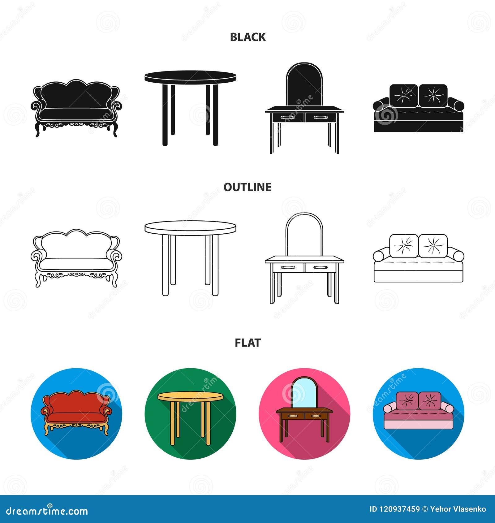 Sofà, poltrona, tavola, specchio Mobilia ed icone domestiche della raccolta del interiorset in nero, piano, simbolo di vettore di