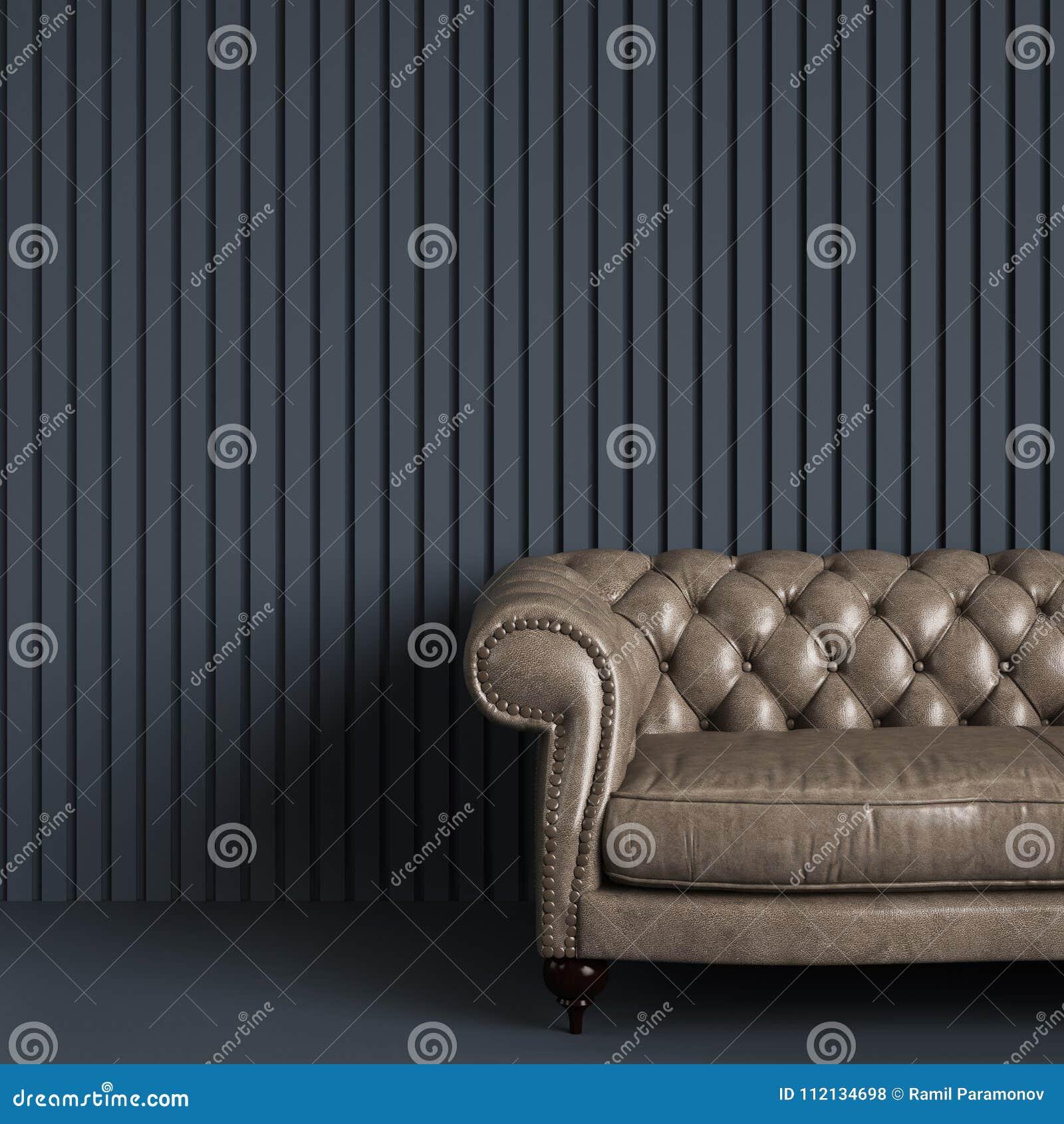 Sofá adornado clássico na sala vazia cinzenta com a parede da listra do relevo