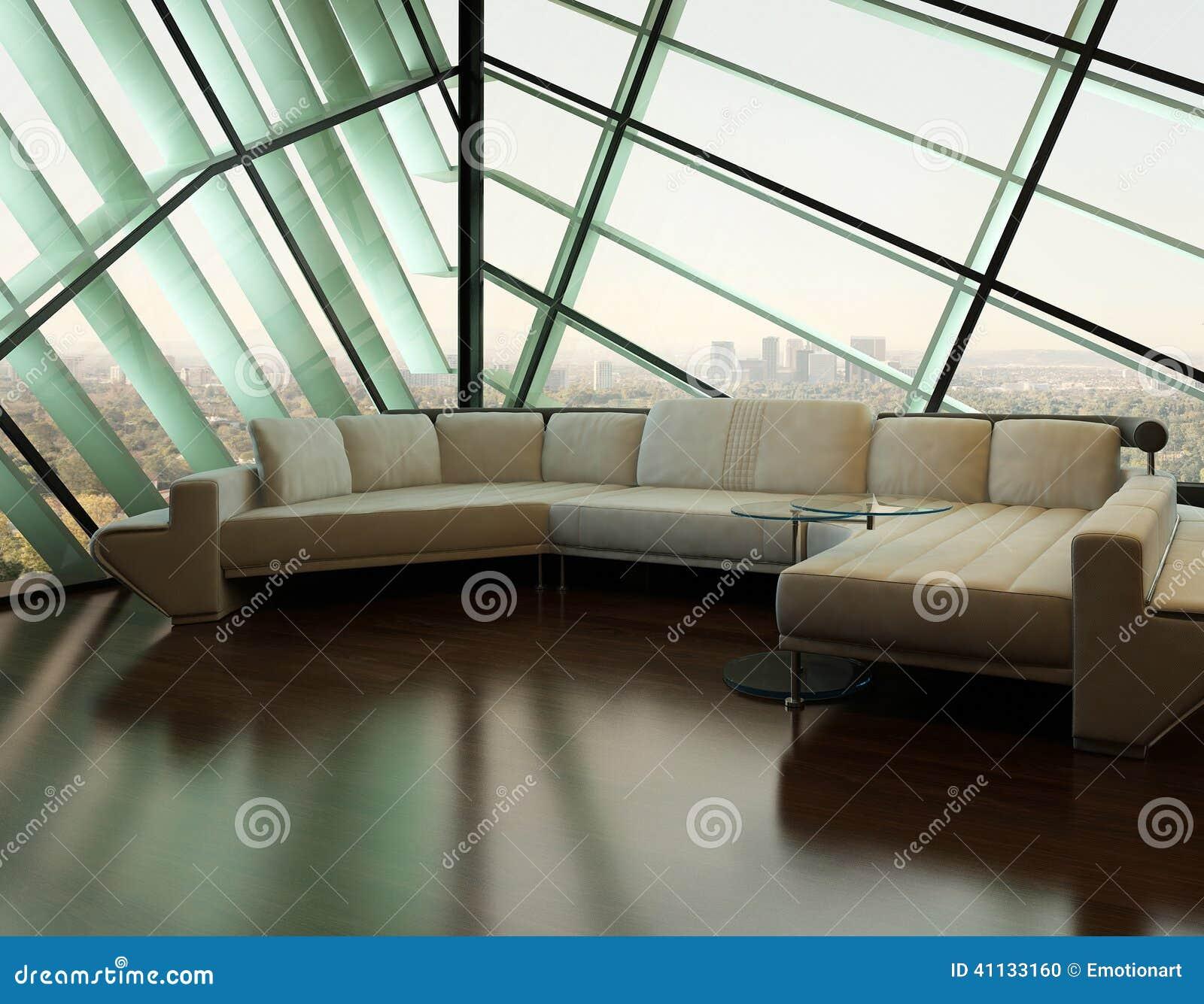 Sofá beige contra ventana de diseño extravagante