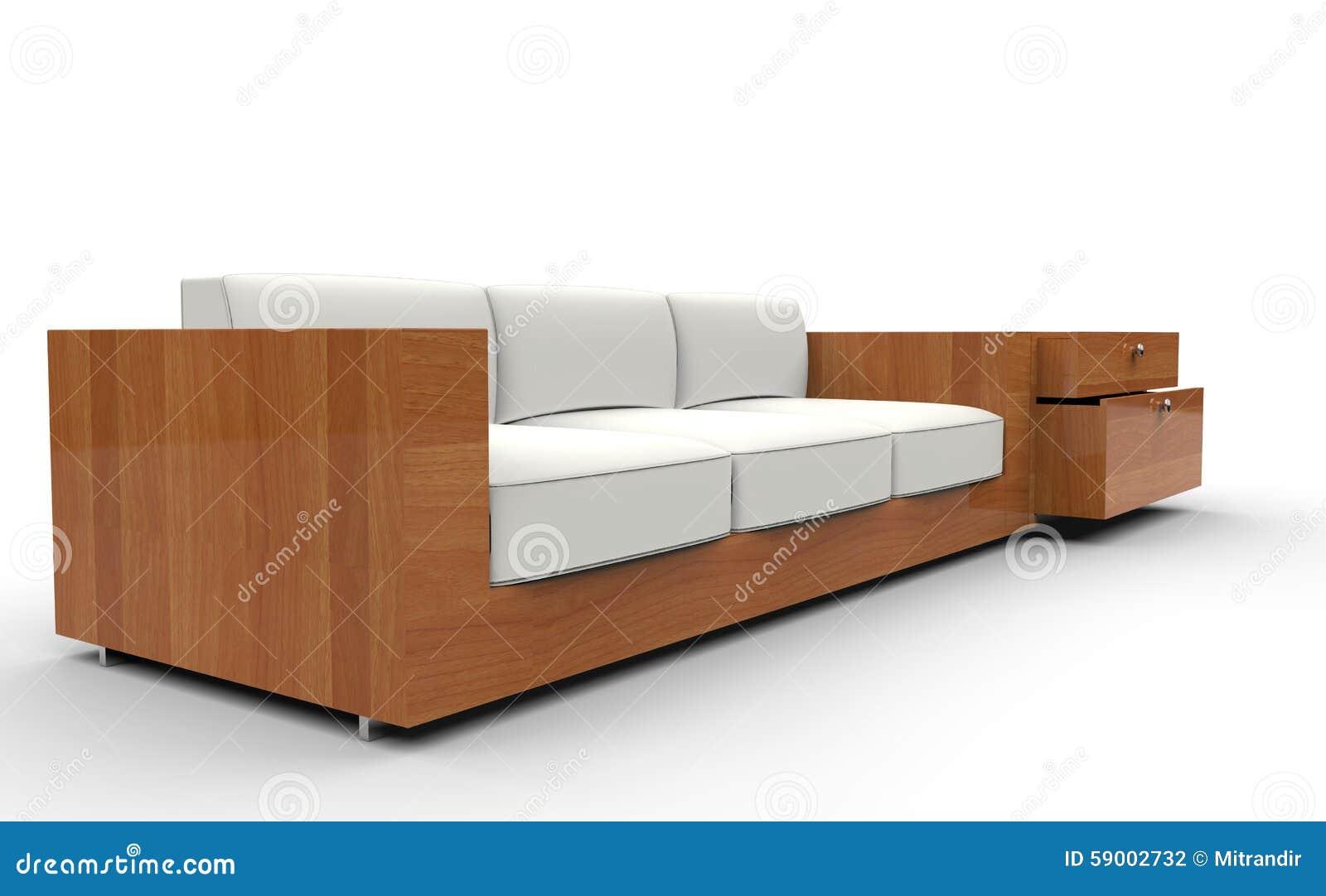 Sofá blanco de madera stock de ilustración. Ilustración de living ...