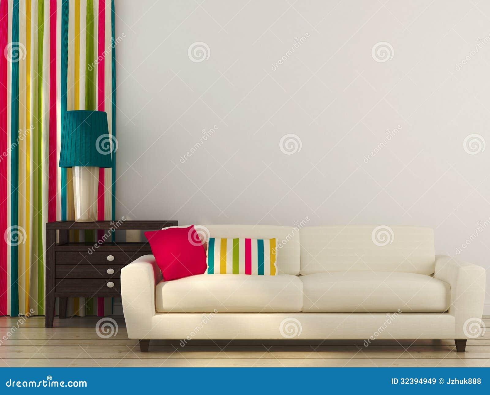 decoracao sofa branco:Sofá Branco Com Decoração Colorida Imagens de Stock Royalty Free