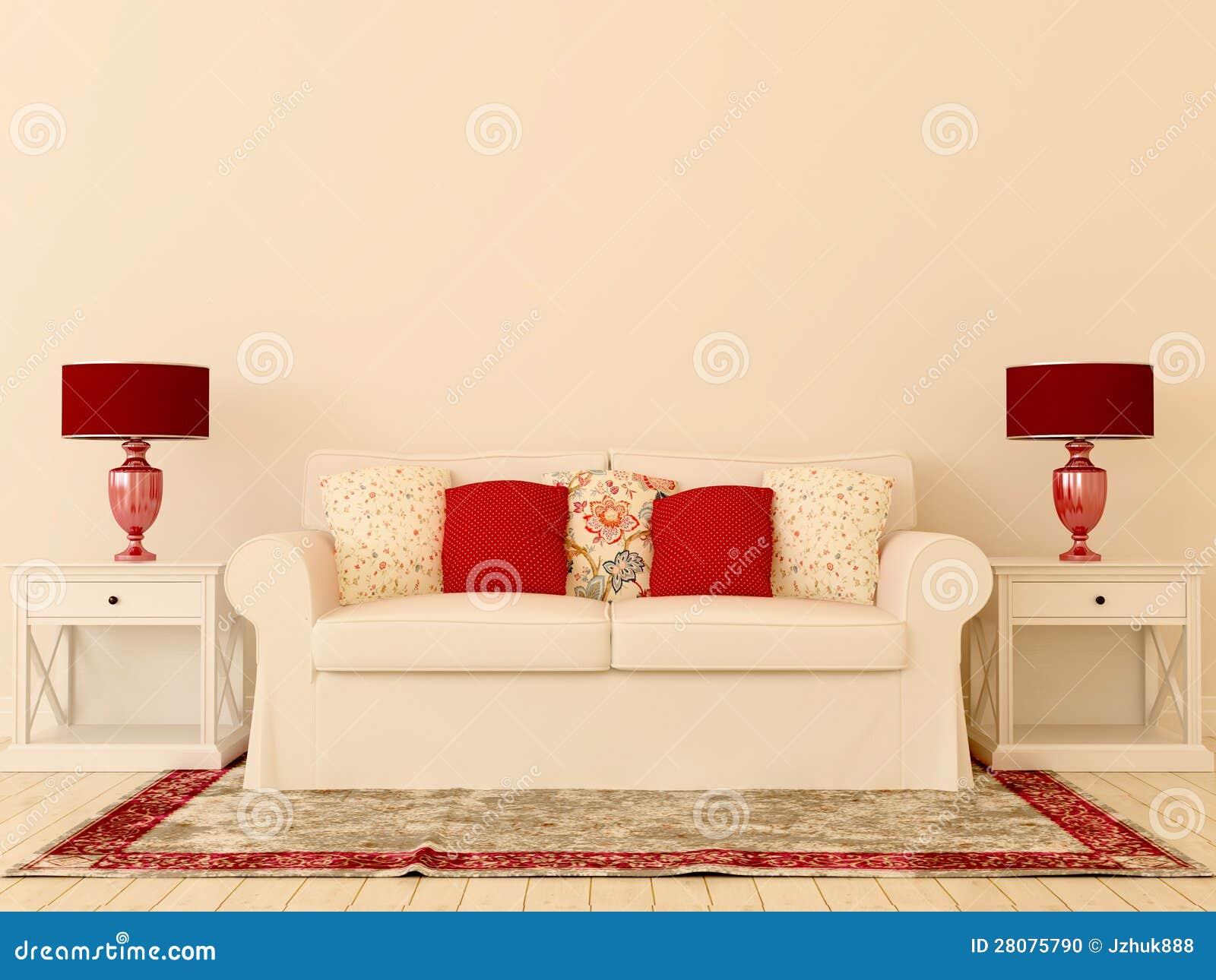 decoracao sofa branco:Composição interior do sofá branco, candeeiros de mesa vermelhos e