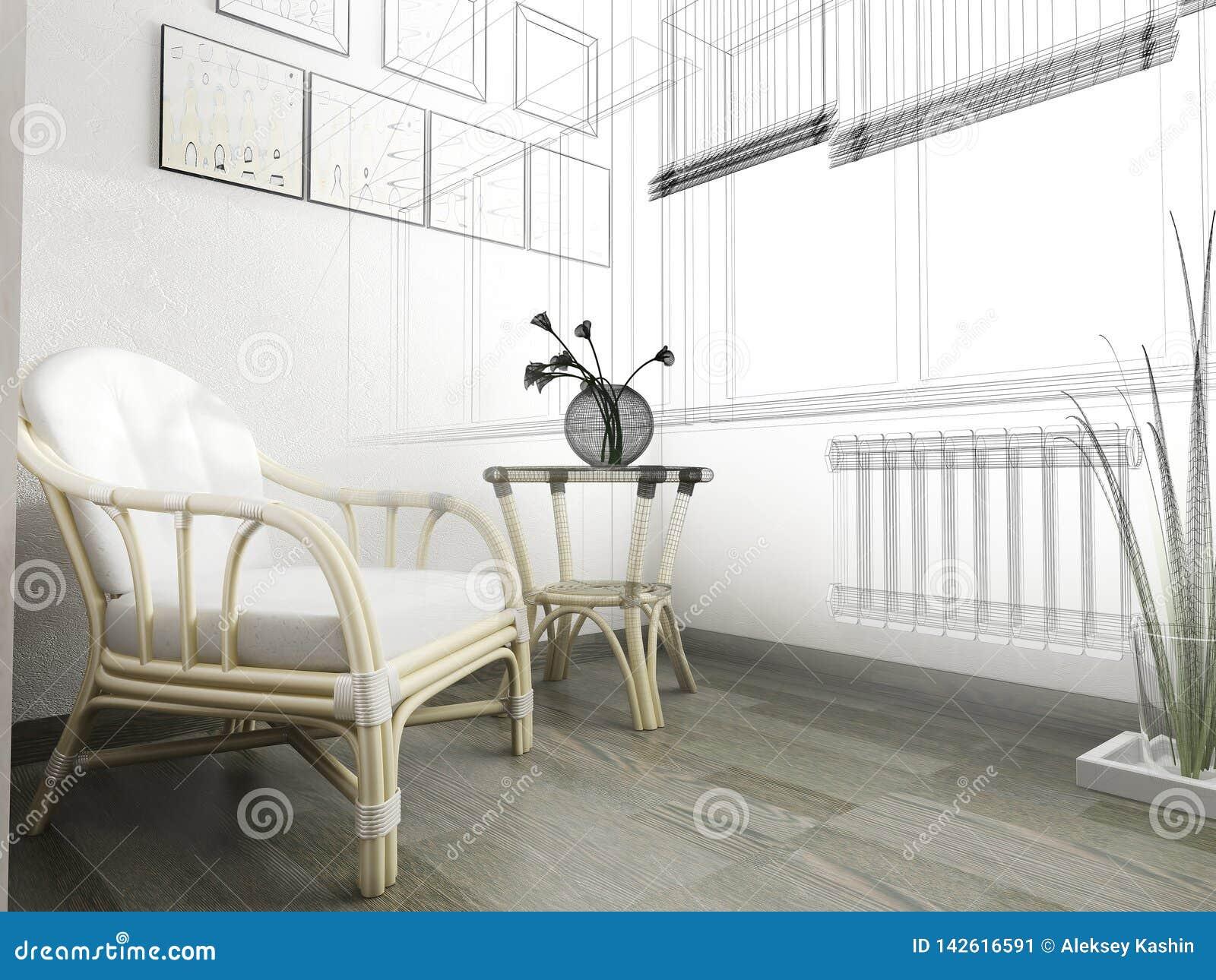 Sofá branco no interior moderno, rendição de 3 d