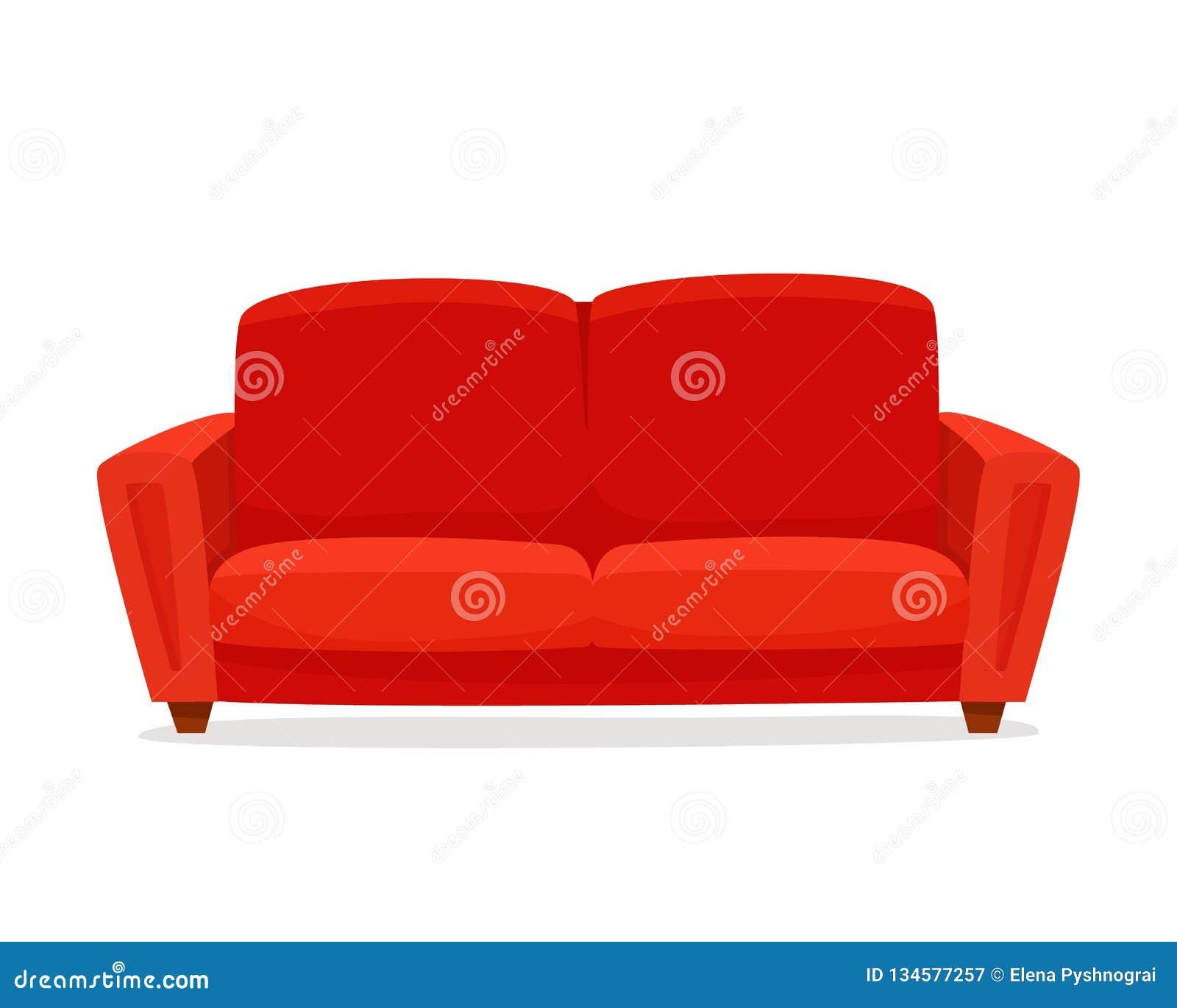 Sofá confortável no fundo branco Sala de estar vermelha isolada do sofá no interior