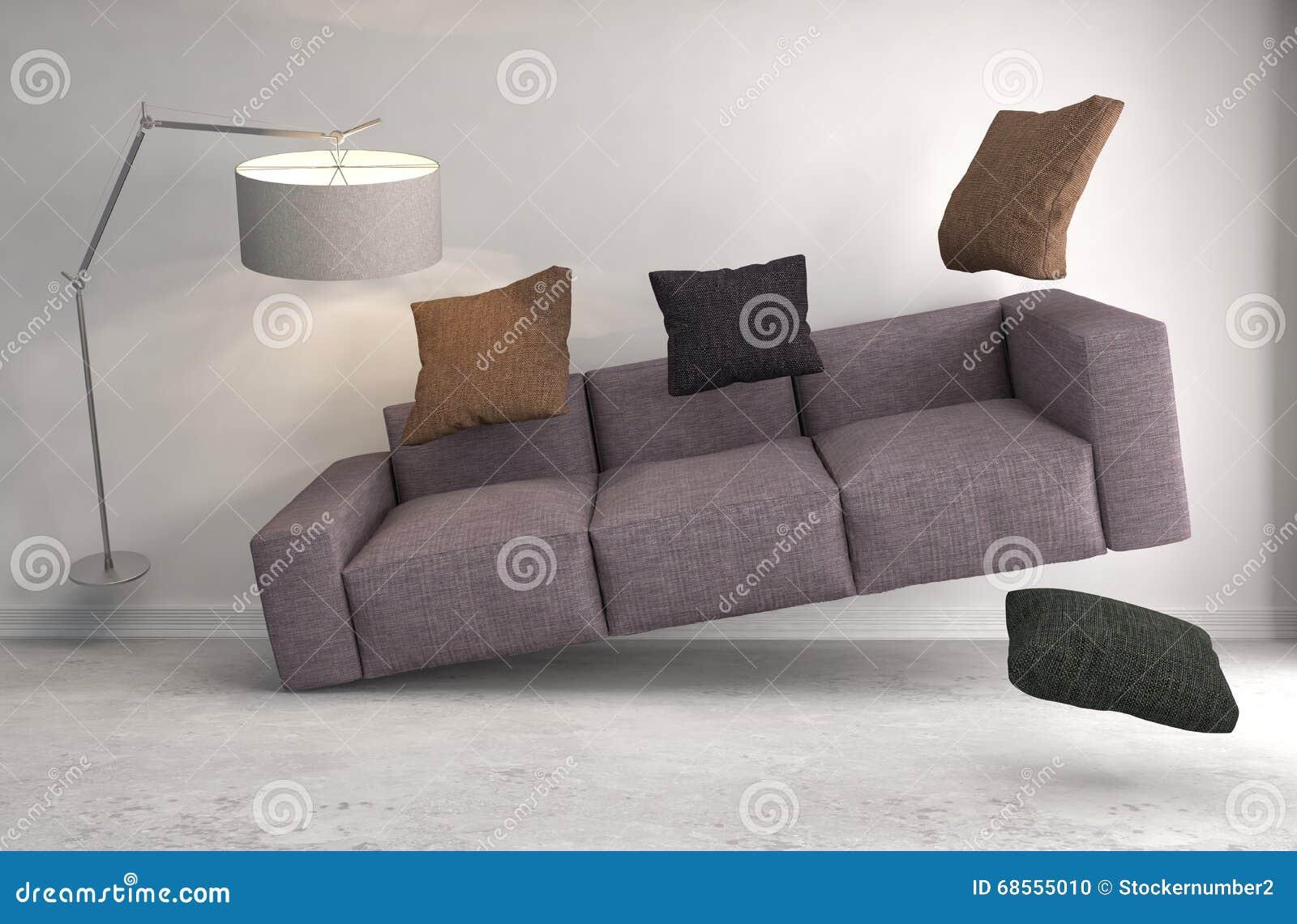 Sofá da gravidade zero que paira na sala de visitas ilustração 3D
