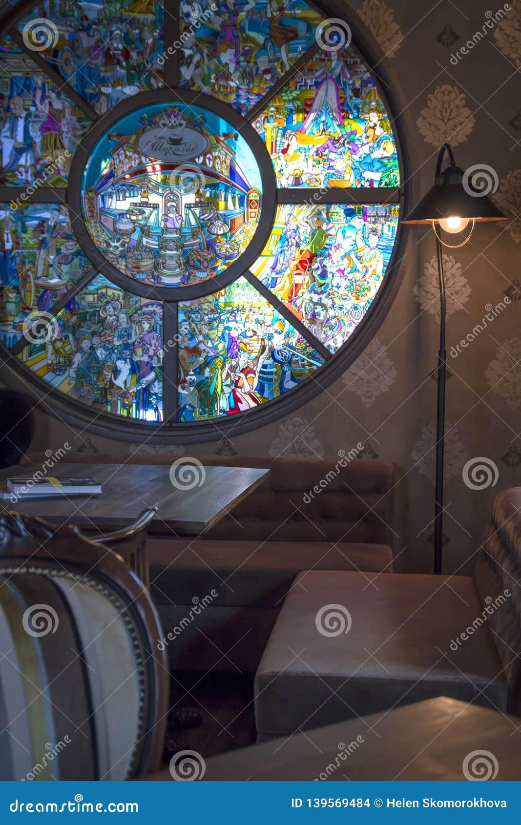 Sofá da lâmpada do design de interiores do vintage da cafetaria
