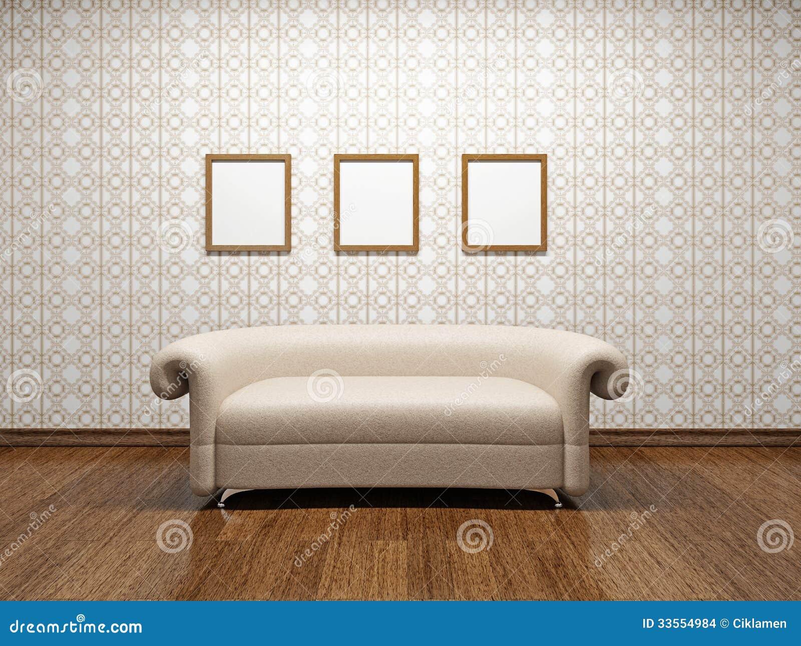 Sofá de couro bege