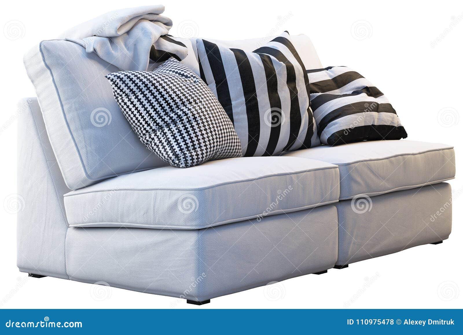 Manta Sofa Ikea.Sofa Do Kivik De Ikea Com Mantas E Descansos Foto De Stock