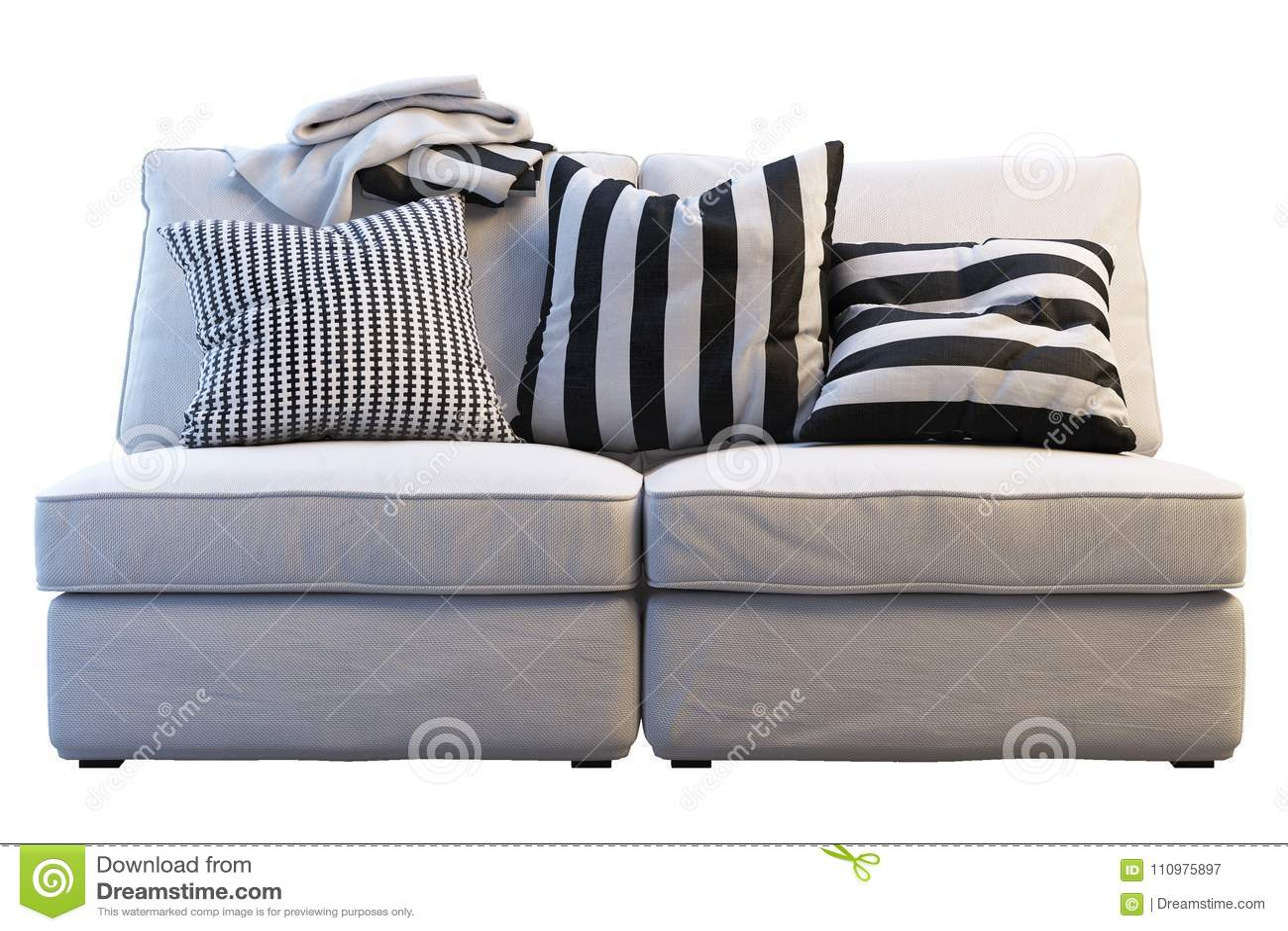 Manta Sofa Ikea.Sofa Do Kivik De Ikea Com Mantas E Descansos Imagem De Stock