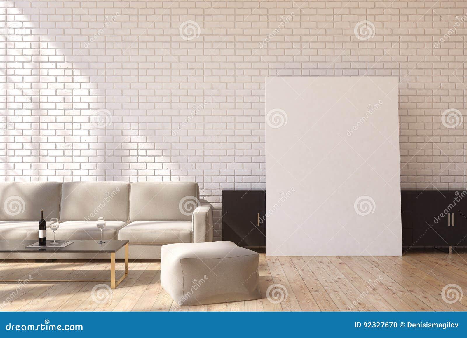 Sofá e cartaz cinzentos