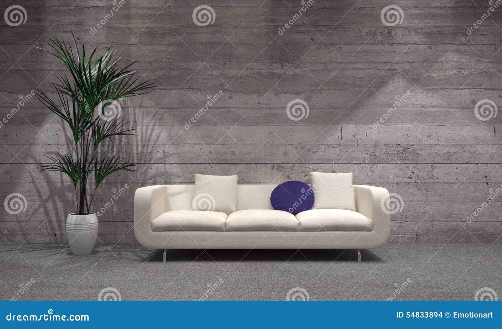 Sofá e planta no vaso na sala de visitas moderna